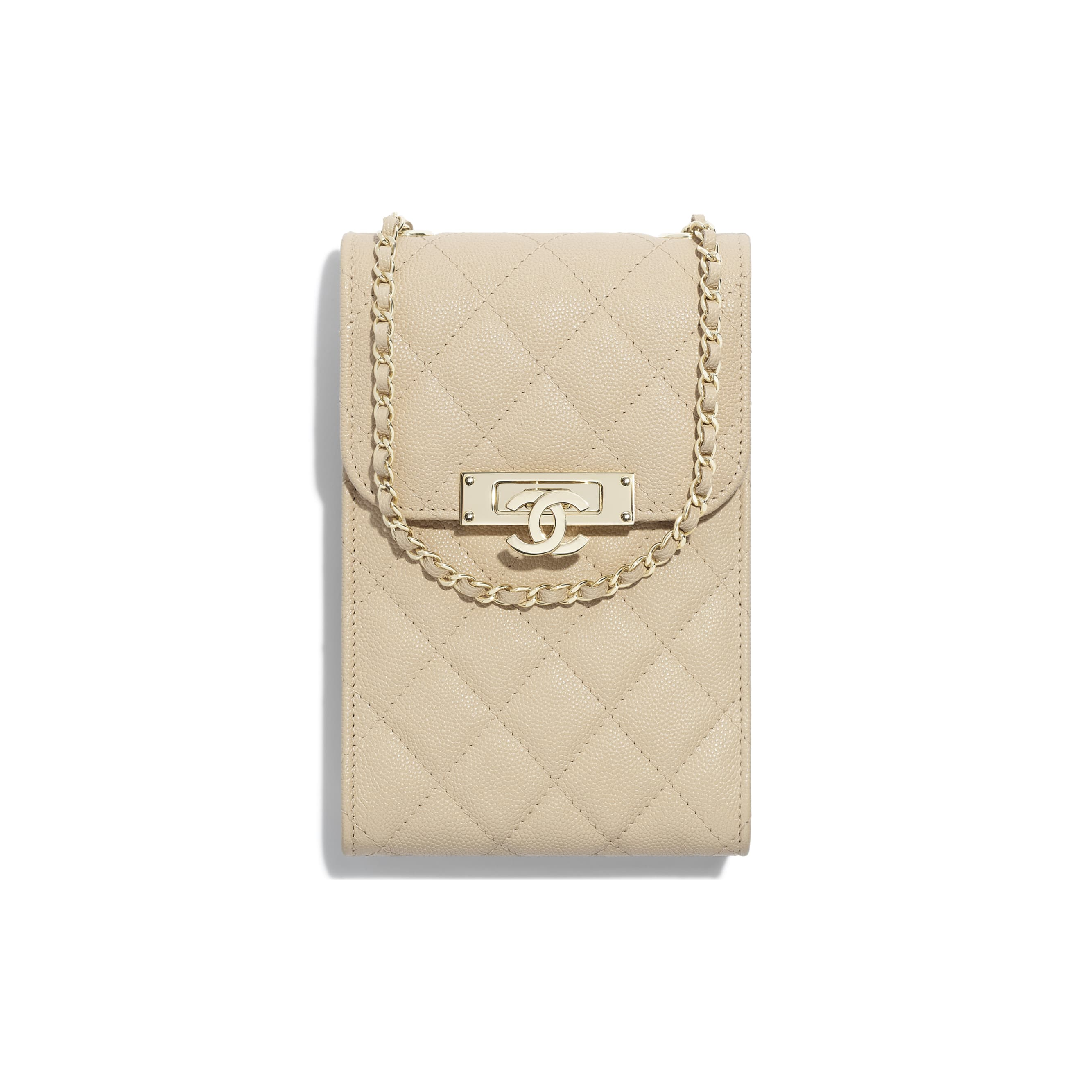 Clutch With Chain - Beige - Grained Goatskin & Gold Metal - Default view - see standard sized version