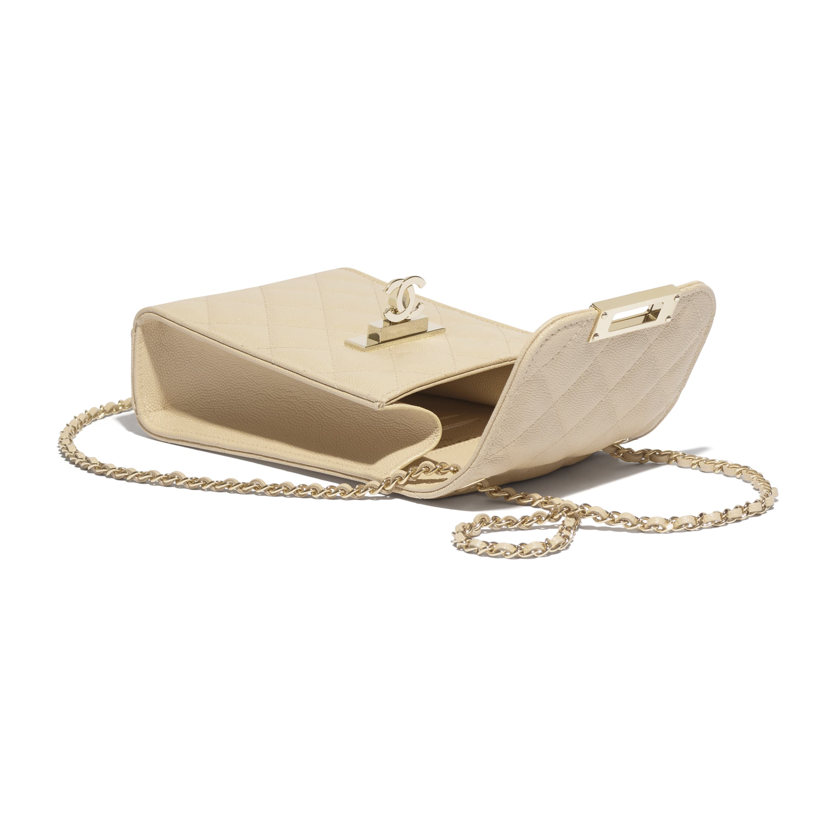 Clutch With Chain - Beige - Grained Goatskin & Gold Metal - Extra view - see standard sized version