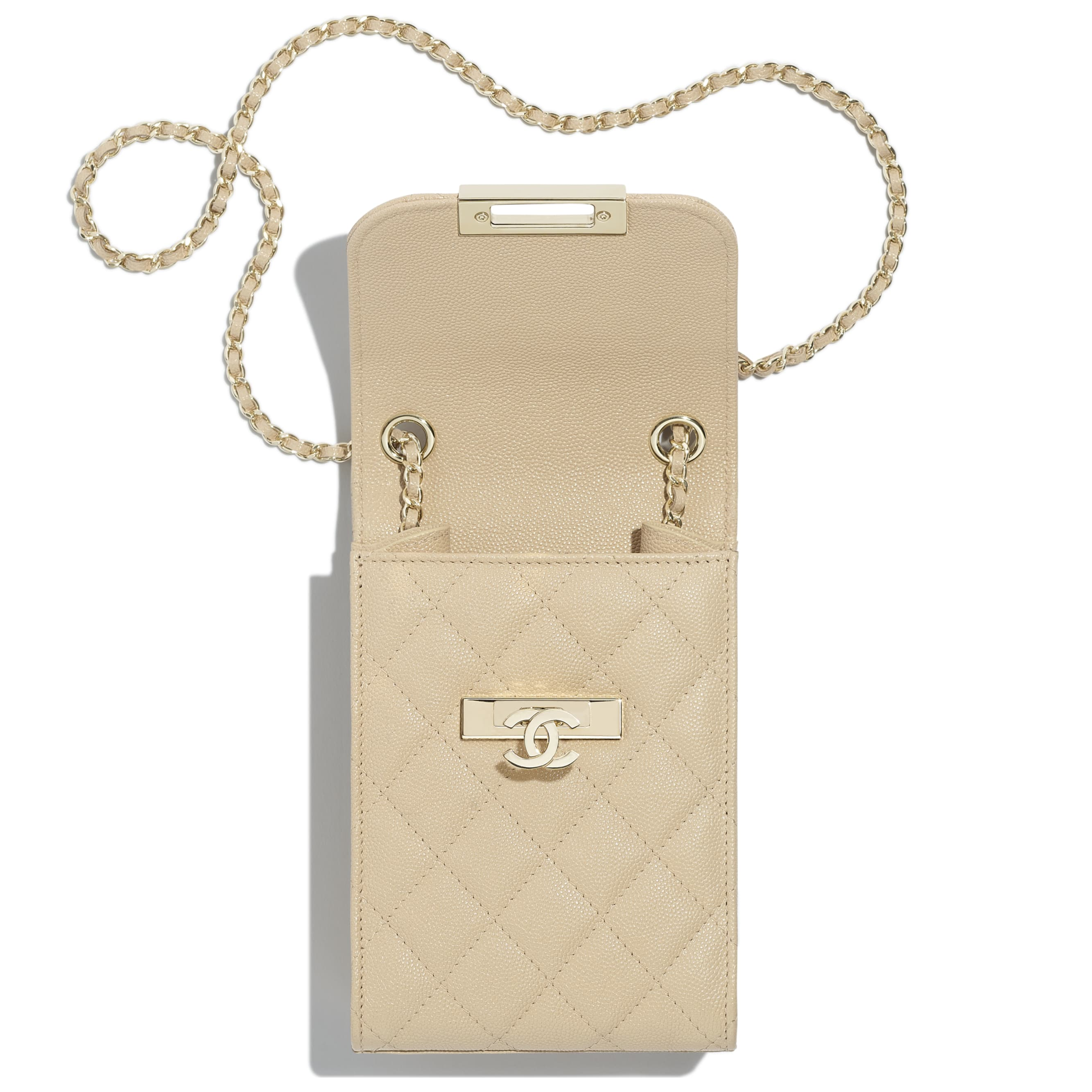 Clutch With Chain - Beige - Grained Goatskin & Gold Metal - Other view - see standard sized version