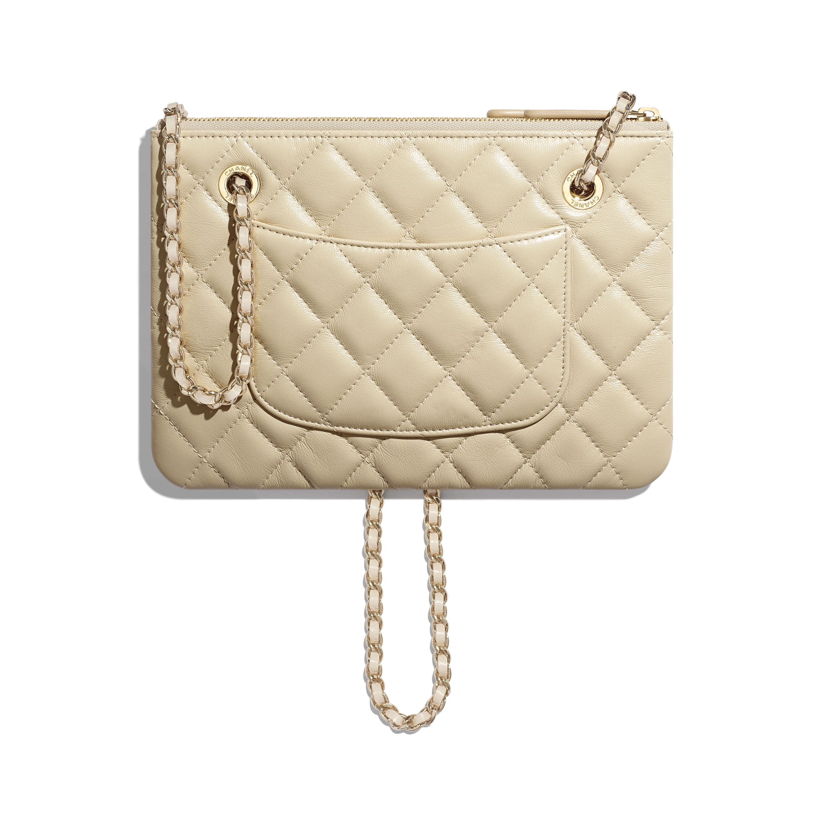 Clutch with Chain - Beige - Shiny Lambskin & Gold-Tone Metal - CHANEL - Alternative view - see standard sized version