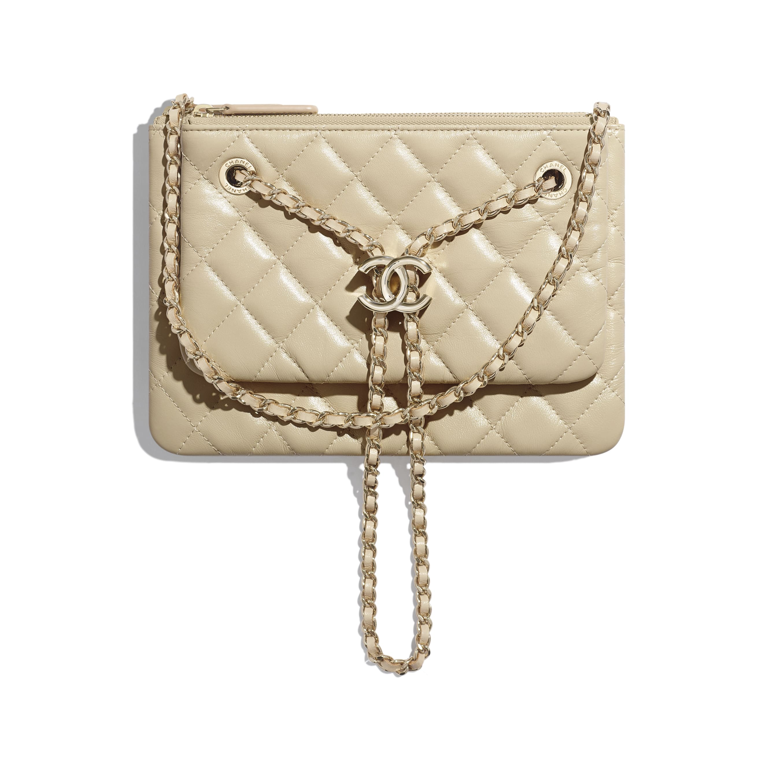 Clutch with Chain - Beige - Shiny Lambskin & Gold-Tone Metal - CHANEL - Default view - see standard sized version