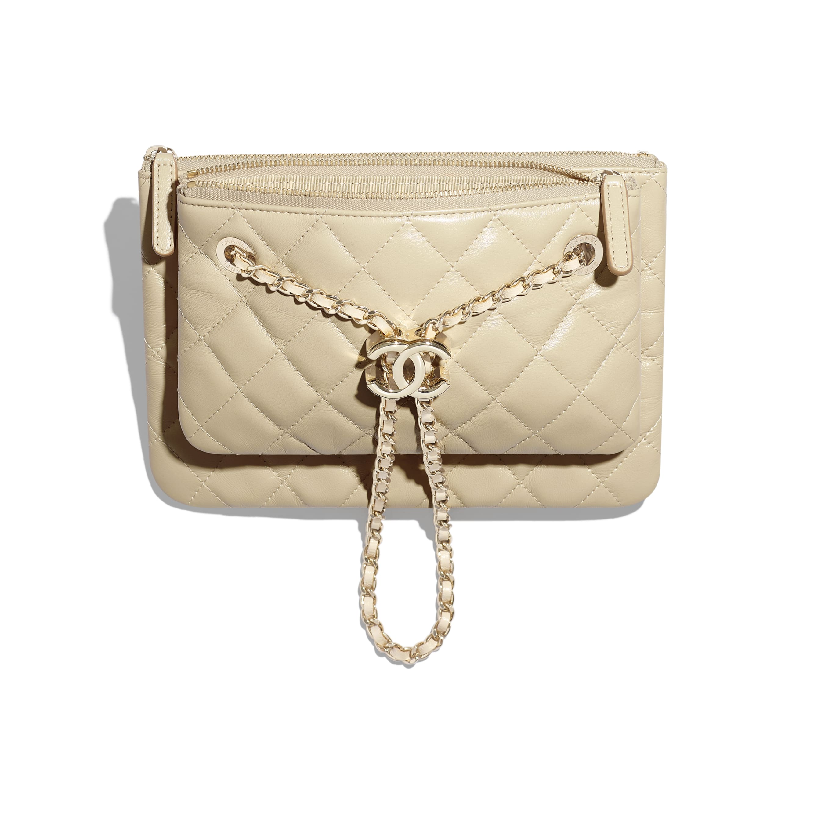 Clutch with Chain - Beige - Shiny Lambskin & Gold-Tone Metal - CHANEL - Other view - see standard sized version
