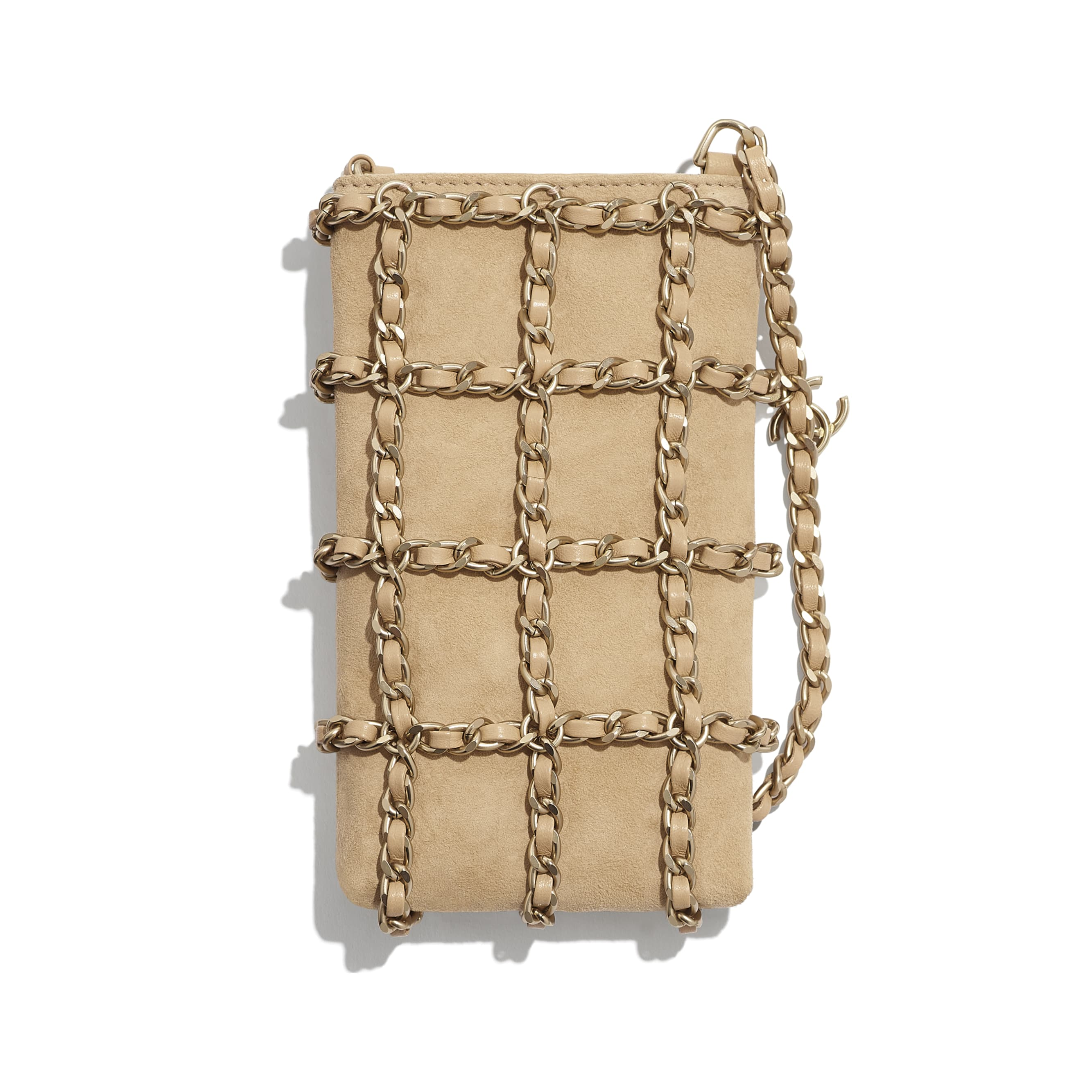 Clutch with Chain - Beige - Suede Goatskin & Gold-Tone Metal - CHANEL - Alternative view - see standard sized version
