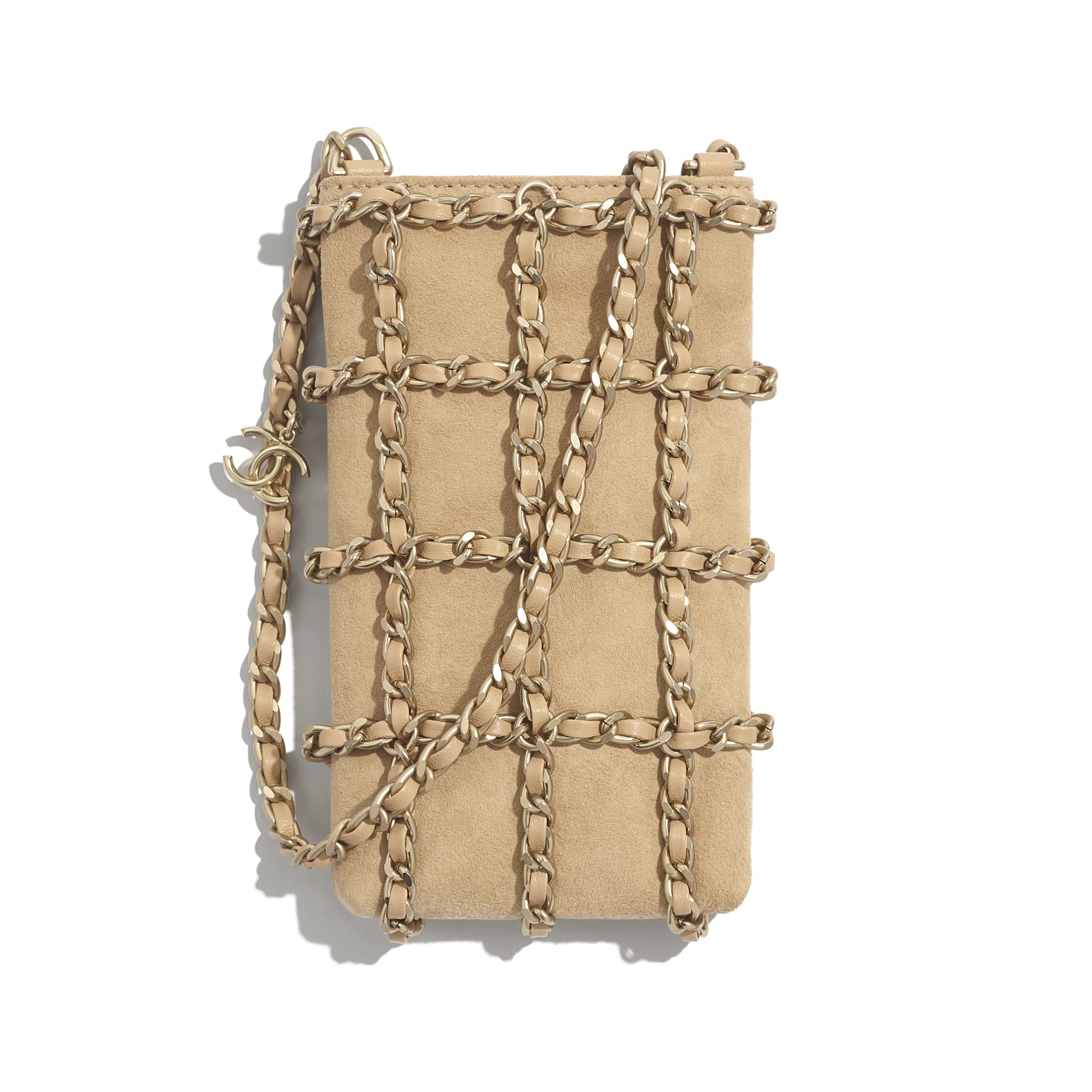 Clutch with Chain - Beige - Suede Goatskin & Gold-Tone Metal - CHANEL - Default view - see standard sized version