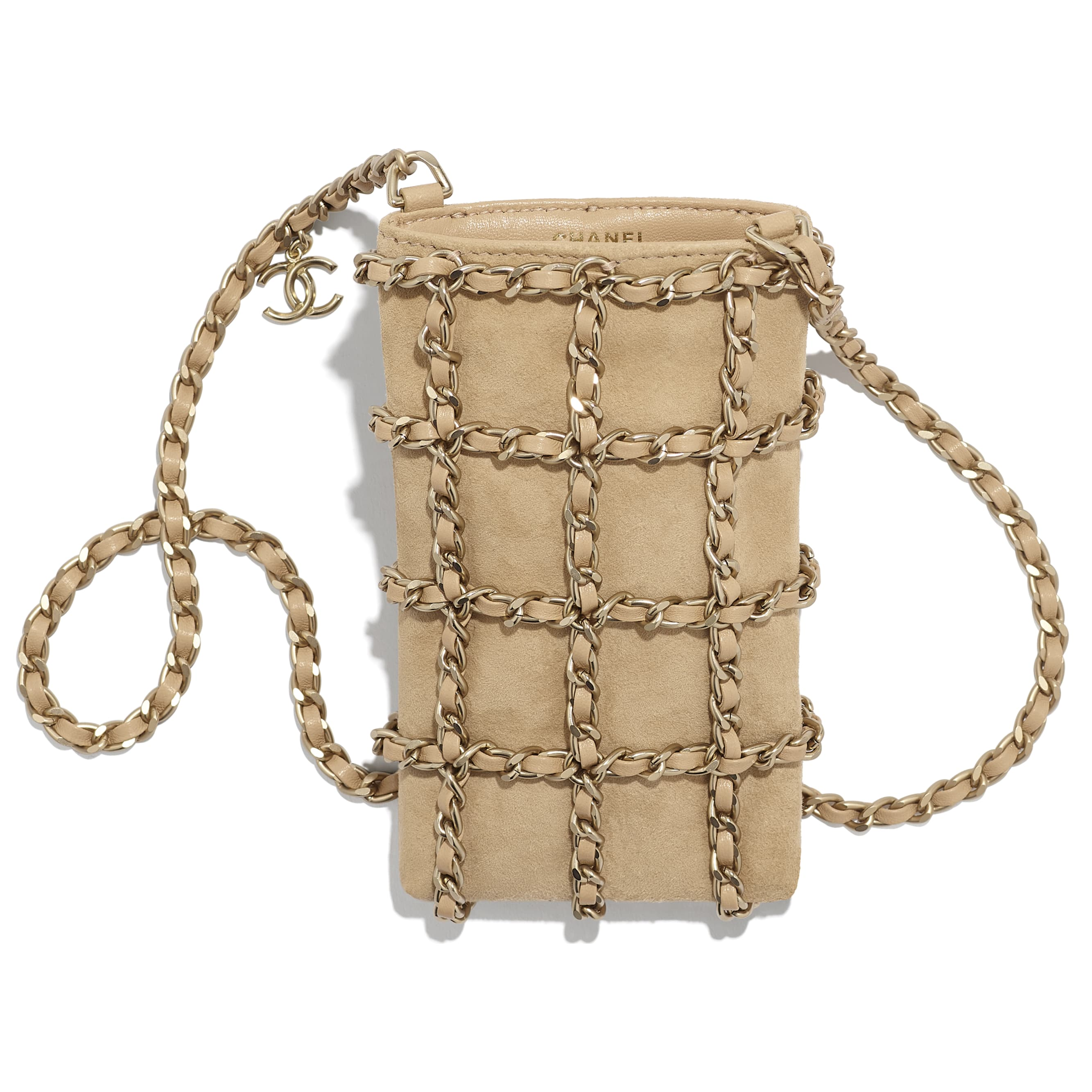 Clutch with Chain - Beige - Suede Goatskin & Gold-Tone Metal - CHANEL - Other view - see standard sized version