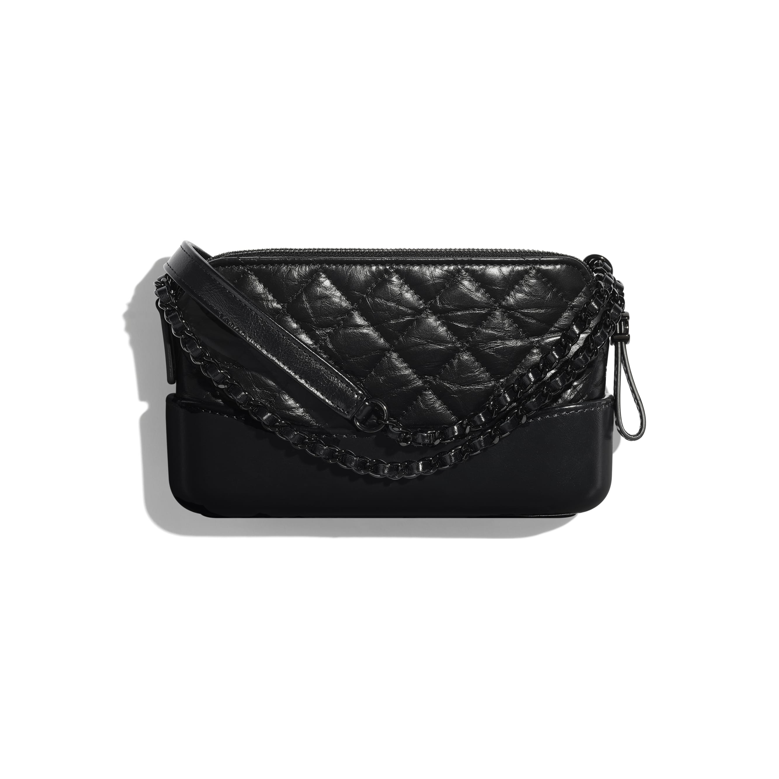 Clutch With Chain - Black - Aged Calfskin, Smooth Calfskin & Black Metal - Alternative view - see standard sized version