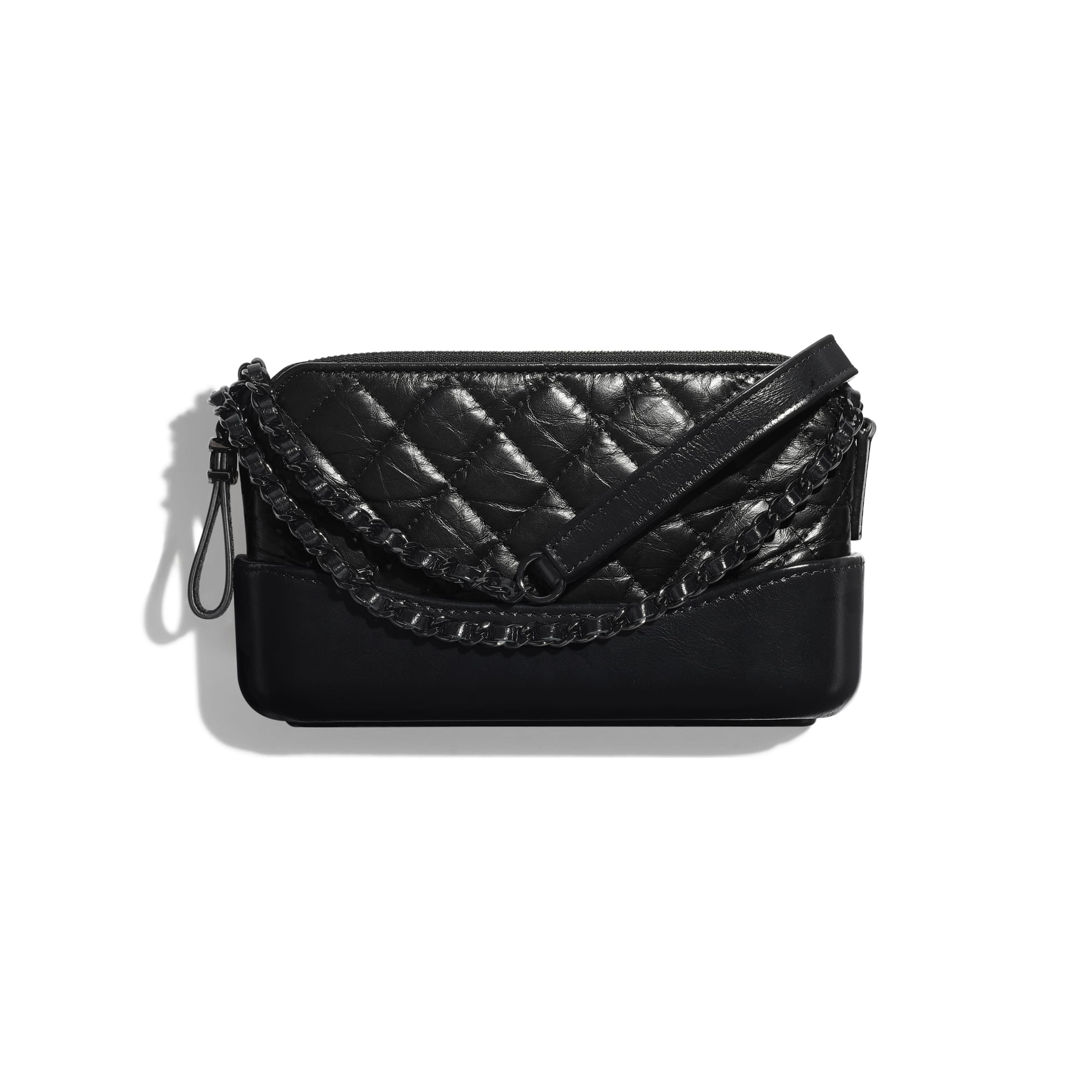 Clutch With Chain - Black - Aged Calfskin, Smooth Calfskin & Black Metal - Default view - see standard sized version