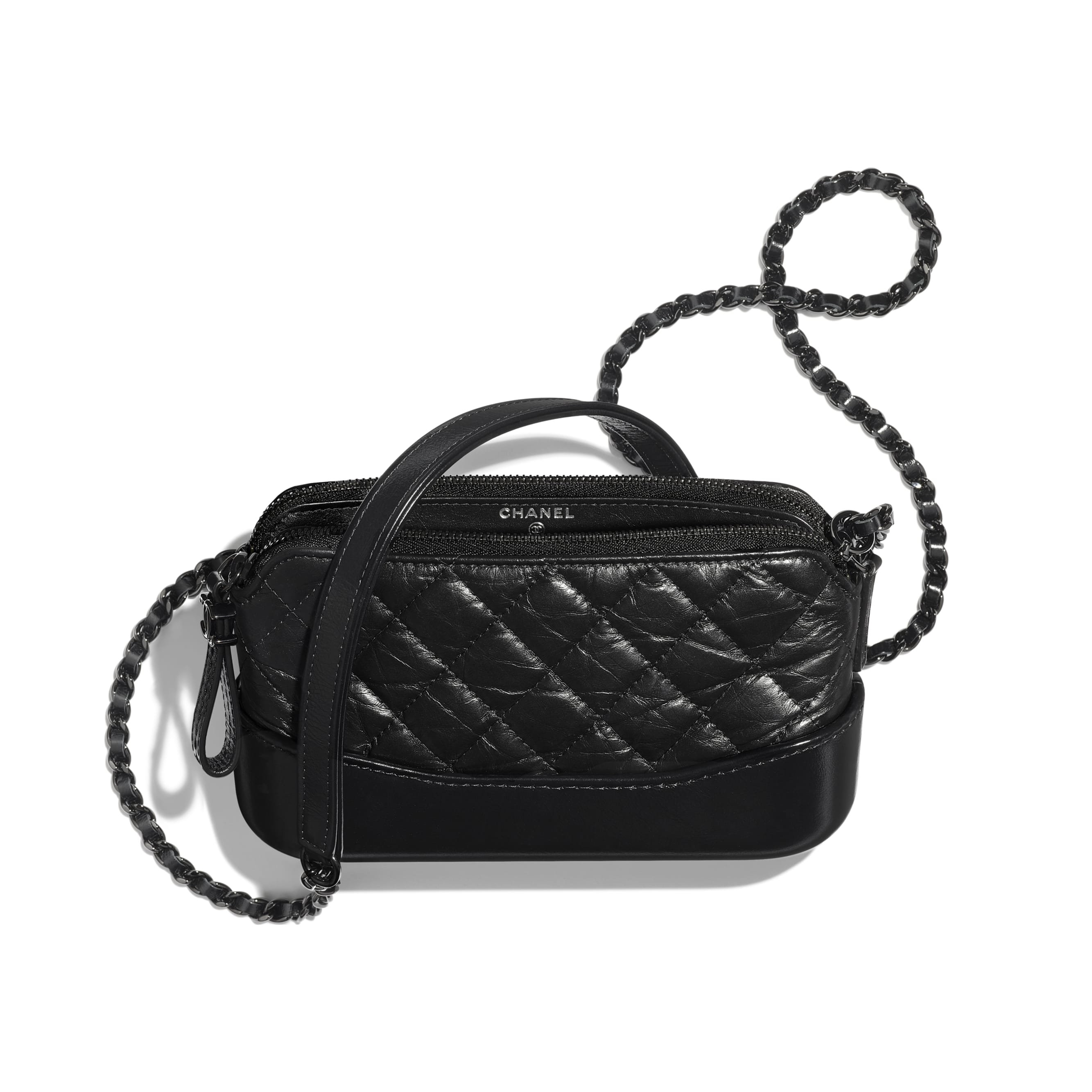 Clutch With Chain - Black - Aged Calfskin, Smooth Calfskin & Black Metal - Other view - see standard sized version