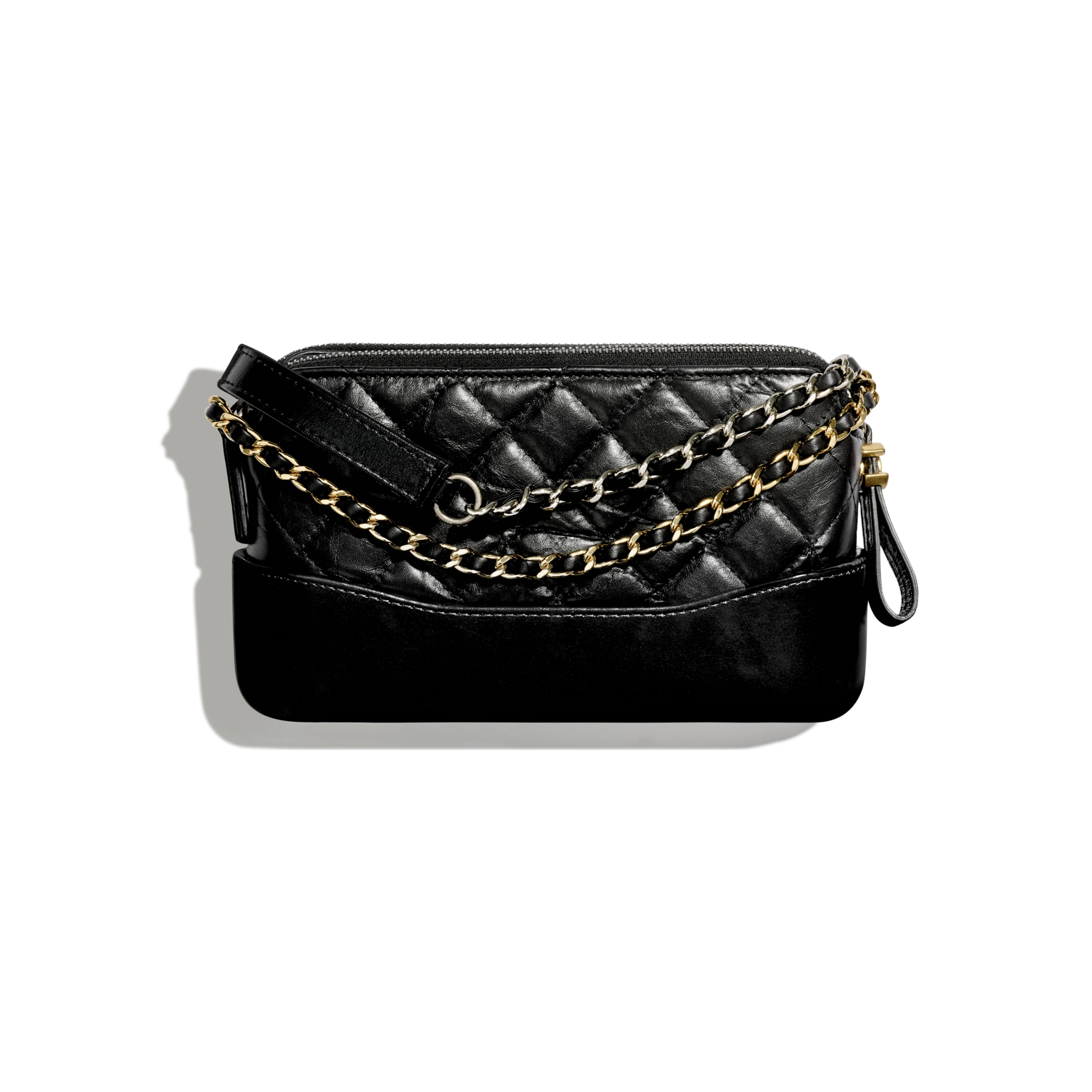 Clutch With Chain - Black - Aged Calfskin, Smooth Calfskin, Gold-Tone, Silver-Tone & Ruthenium-Finish Metal - CHANEL - Alternative view - see standard sized version