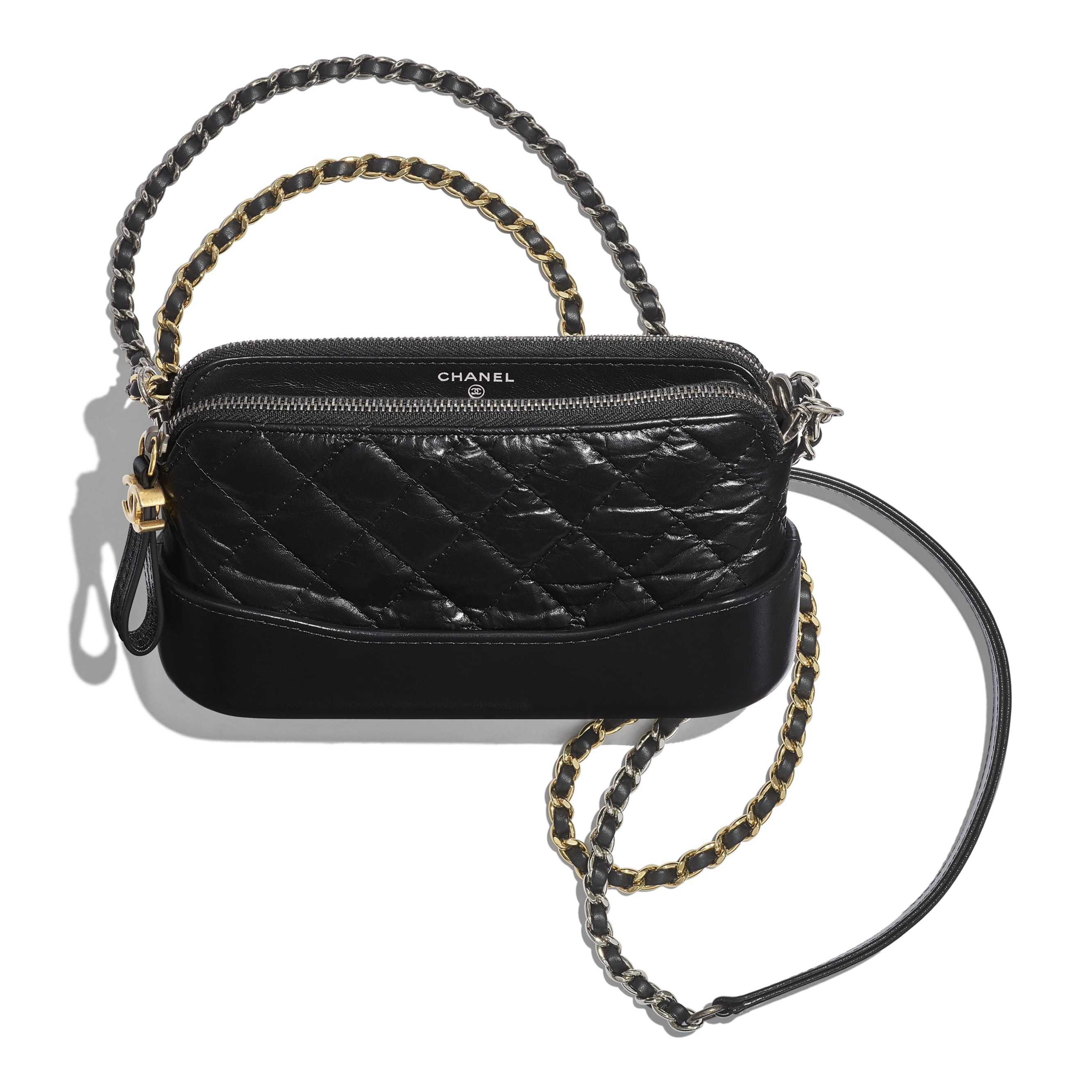Clutch With Chain - Black - Aged Calfskin, Smooth Calfskin, Gold-Tone, Silver-Tone & Ruthenium-Finish Metal - CHANEL - Other view - see standard sized version