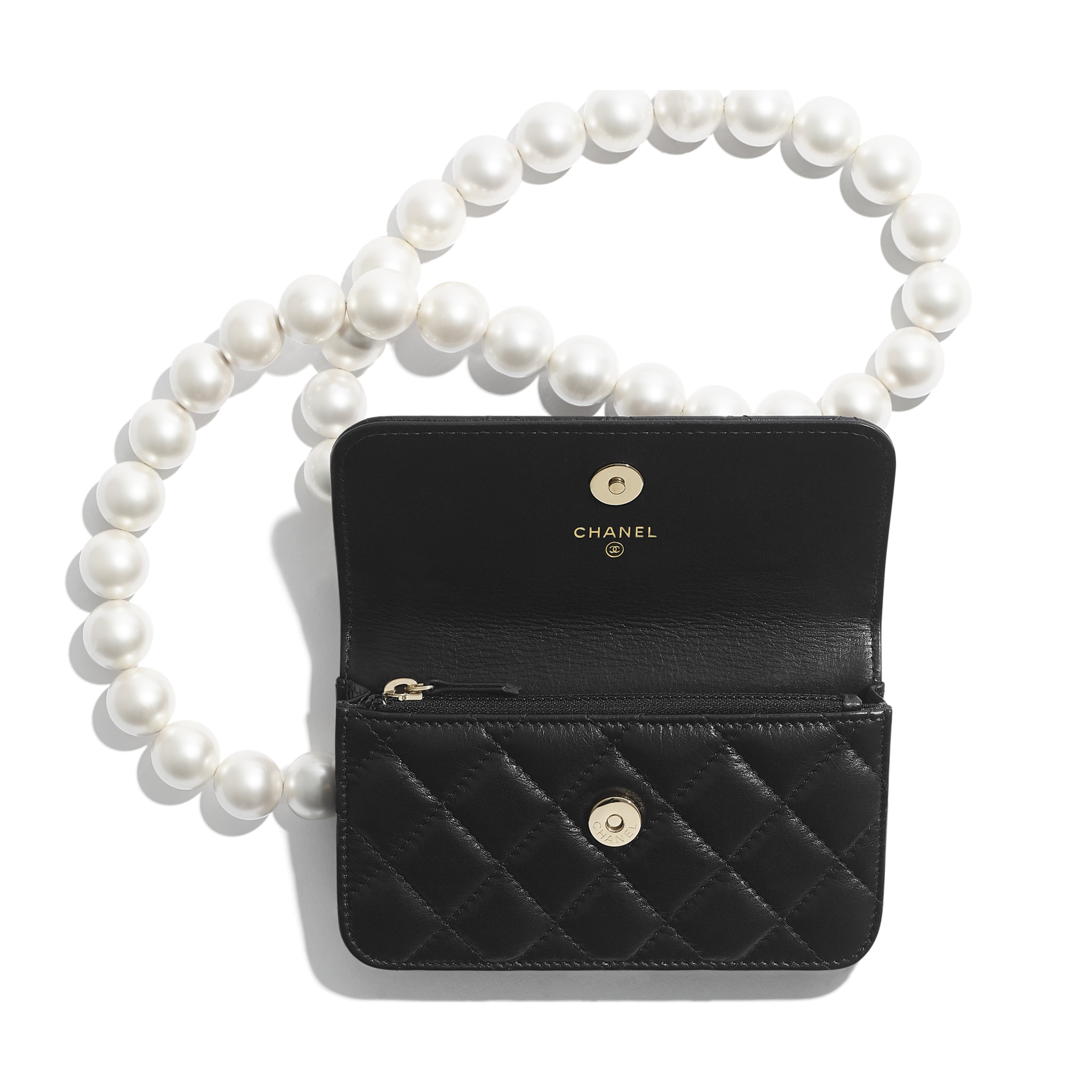 Clutch With Chain - Black - Calfskin, Imitation Pearls & Gold-Tone Metal - CHANEL - Alternative view - see standard sized version