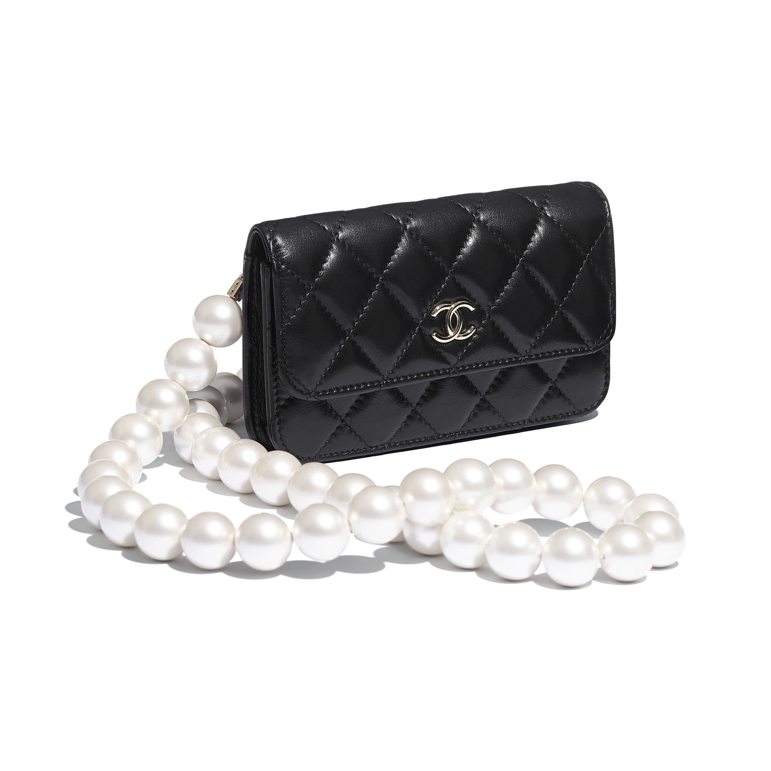 Clutch With Chain - Black - Calfskin, Imitation Pearls & Gold-Tone Metal - CHANEL - Extra view - see standard sized version