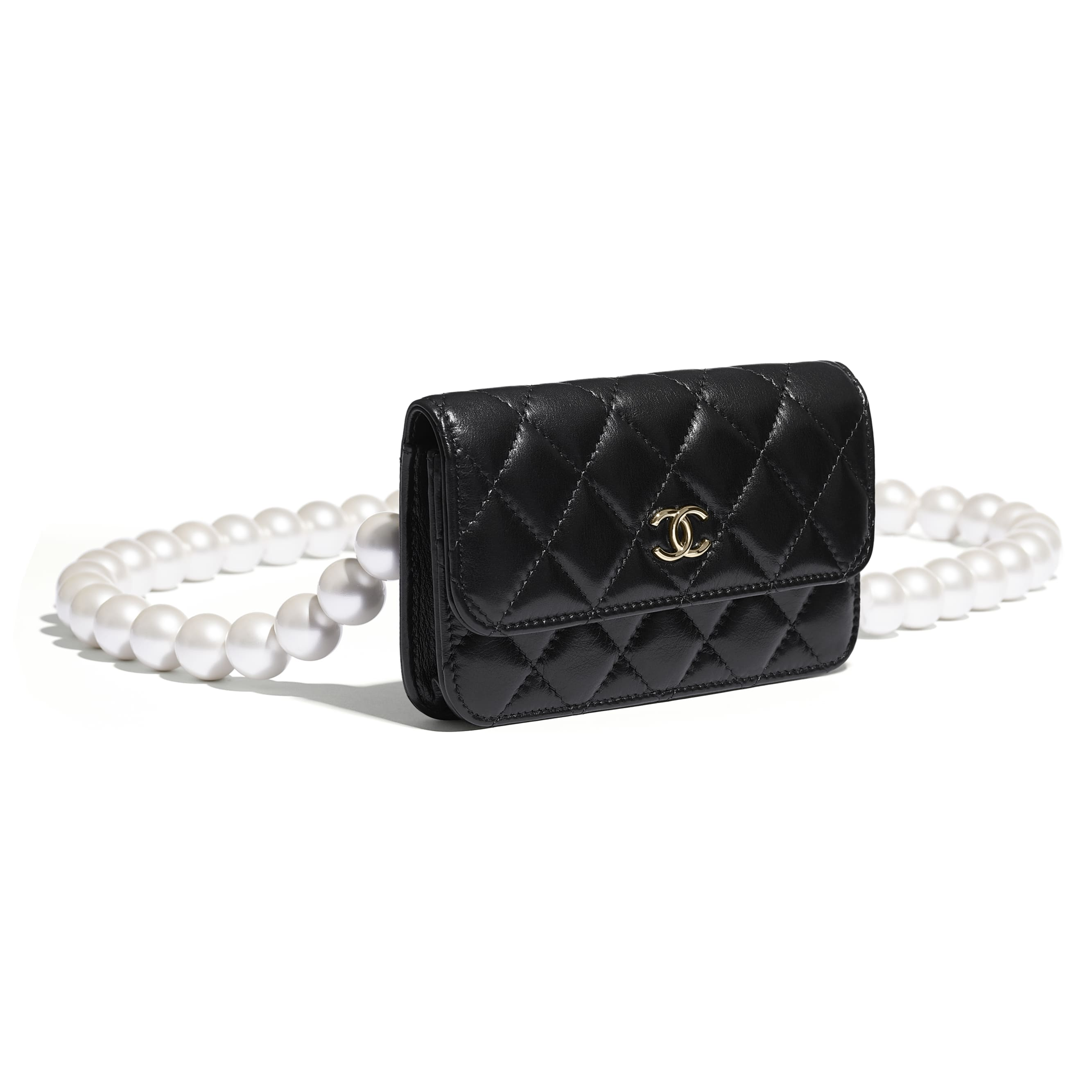 Clutch With Chain - Black - Calfskin, Imitation Pearls & Gold-Tone Metal - CHANEL - Other view - see standard sized version