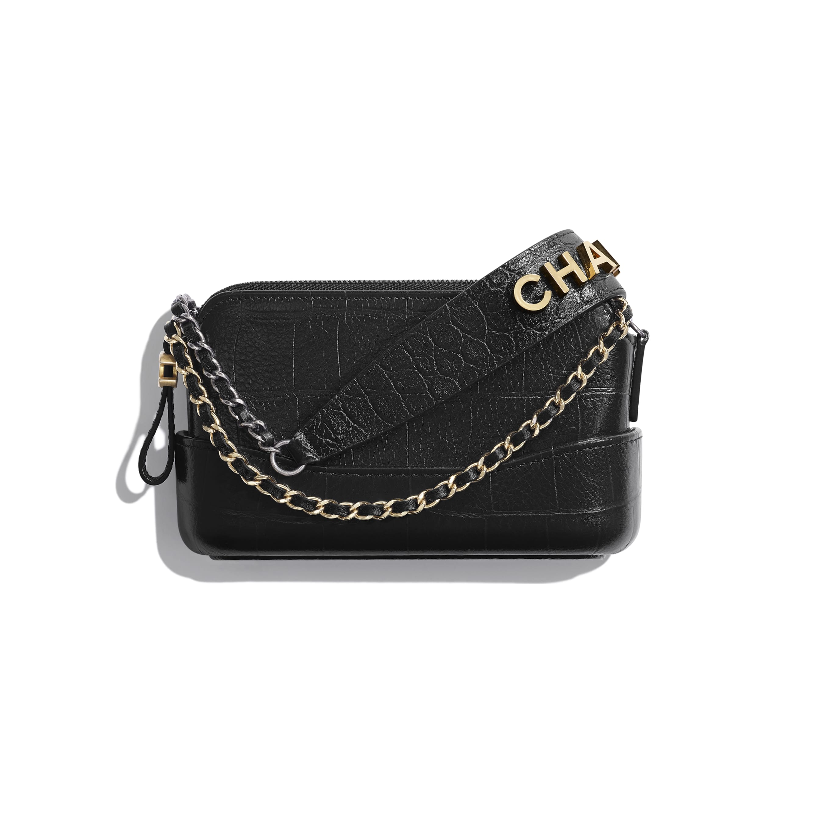 Clutch With Chain - Black - Crocodile Embossed Calfskin, Gold-Tone & Silver-Tone Metal - CHANEL - Default view - see standard sized version
