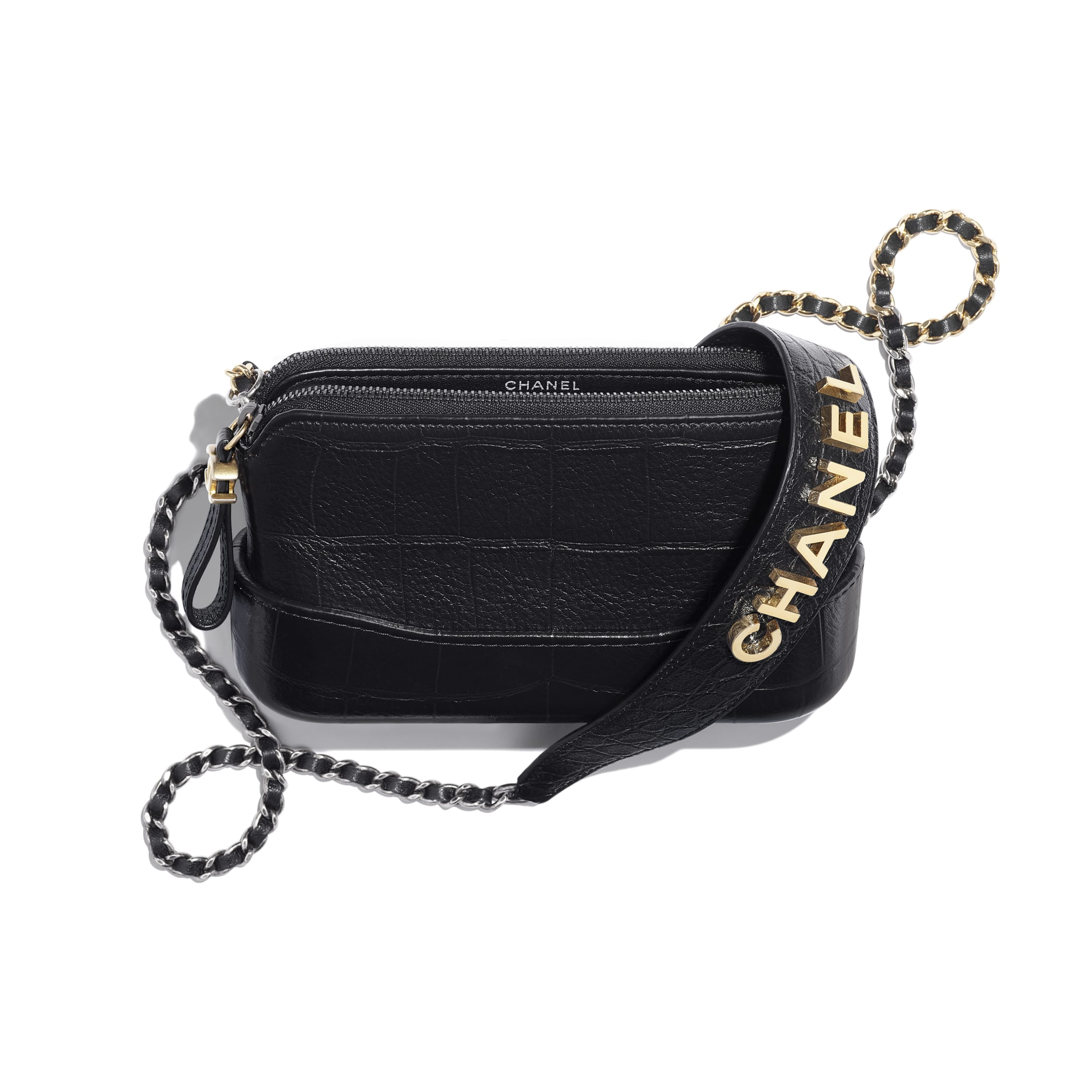 Clutch With Chain - Black - Crocodile Embossed Calfskin, Gold-Tone & Silver-Tone Metal - CHANEL - Other view - see standard sized version
