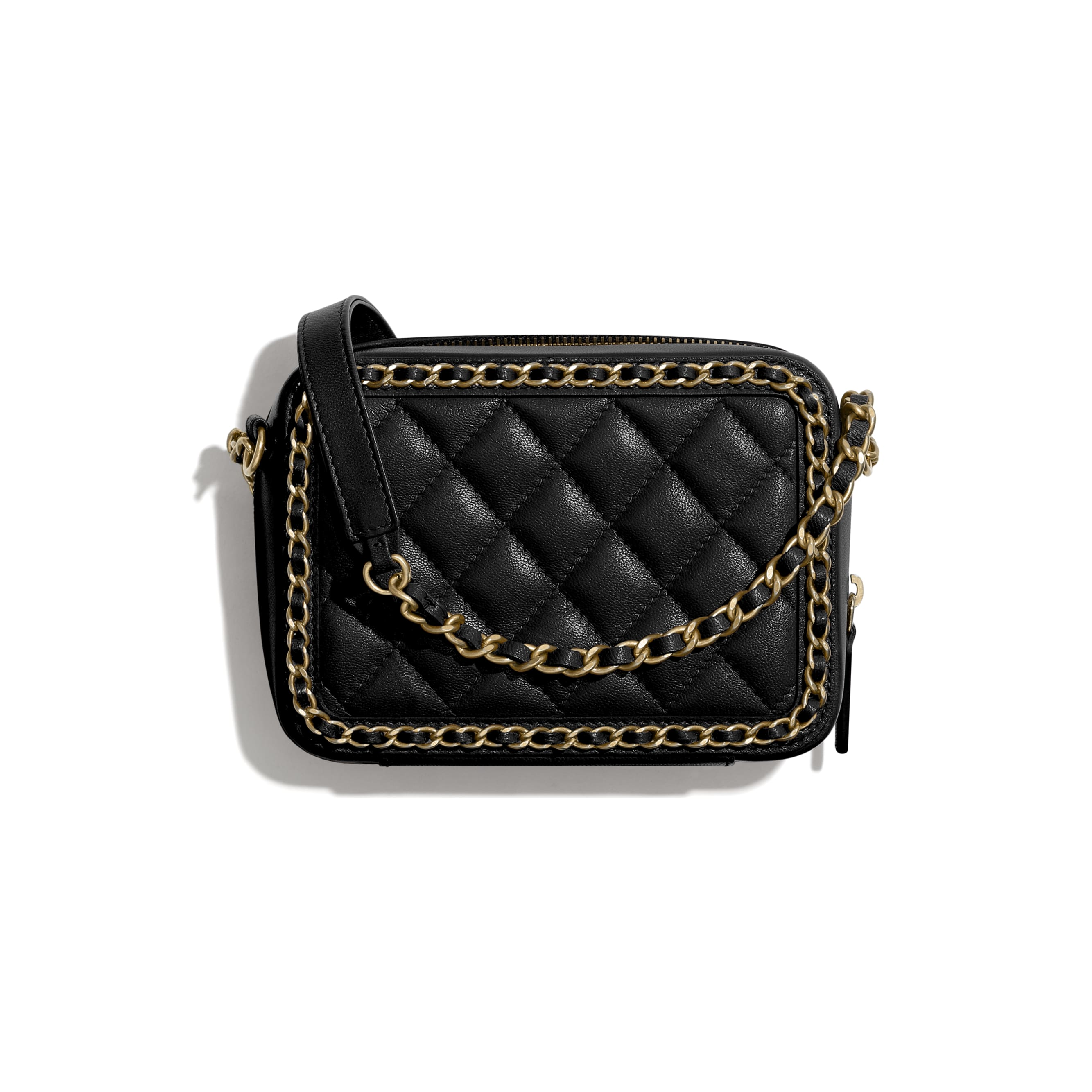 Clutch With Chain - Black - Goatskin & Gold-Tone Metal - CHANEL - Alternative view - see standard sized version