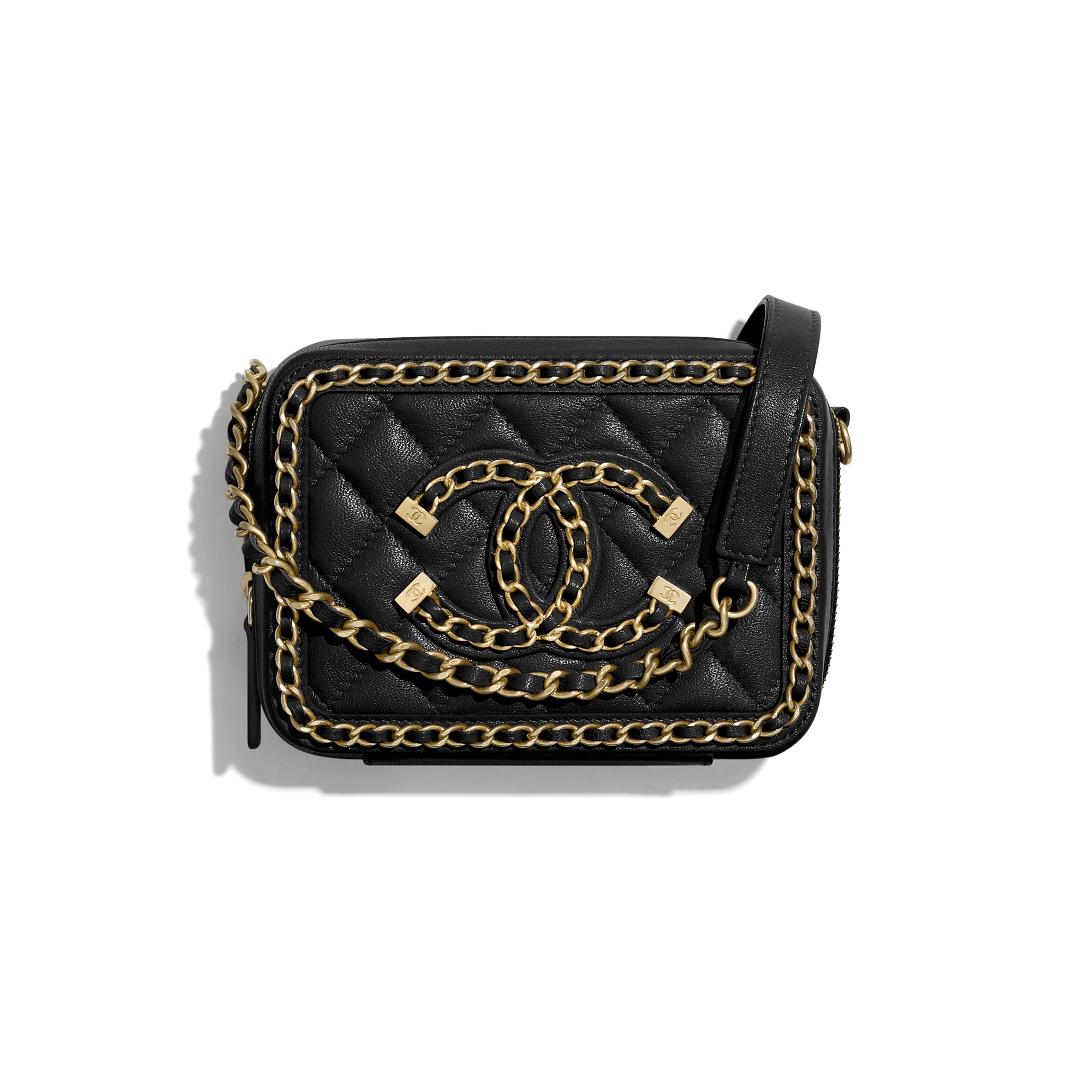 Clutch With Chain - Black - Goatskin & Gold-Tone Metal - CHANEL - Default view - see standard sized version