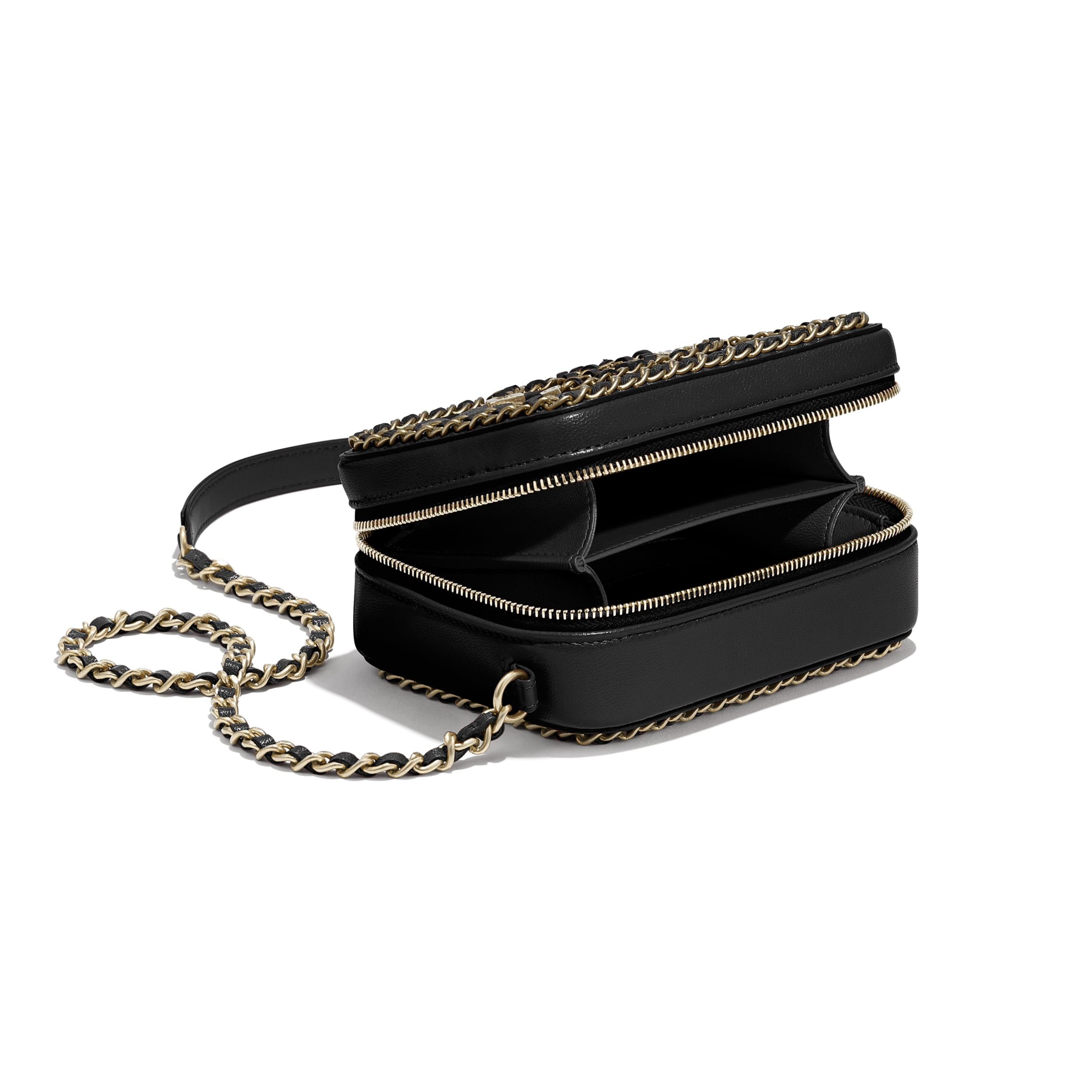 Clutch With Chain - Black - Goatskin & Gold-Tone Metal - CHANEL - Extra view - see standard sized version