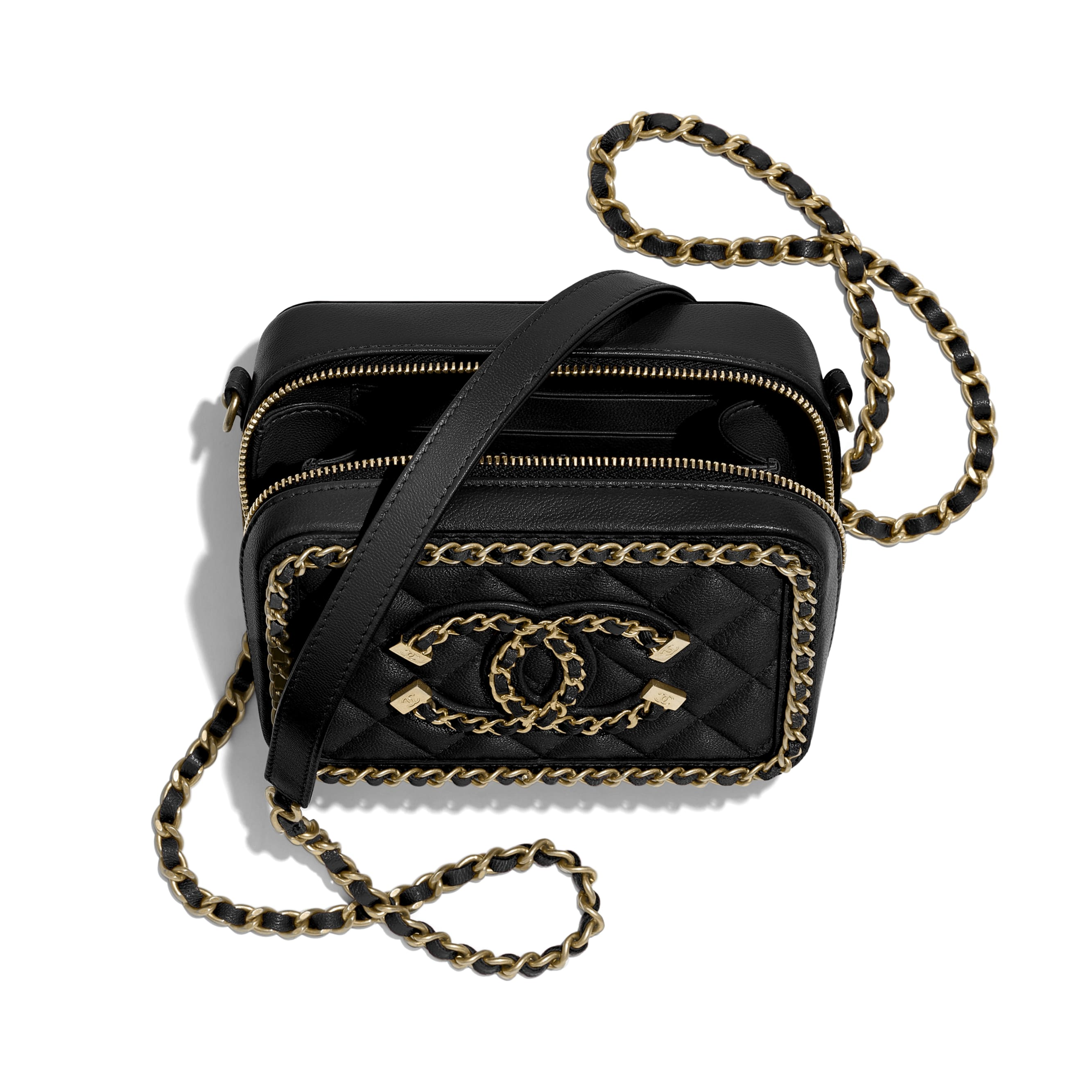 Clutch With Chain - Black - Goatskin & Gold-Tone Metal - CHANEL - Other view - see standard sized version