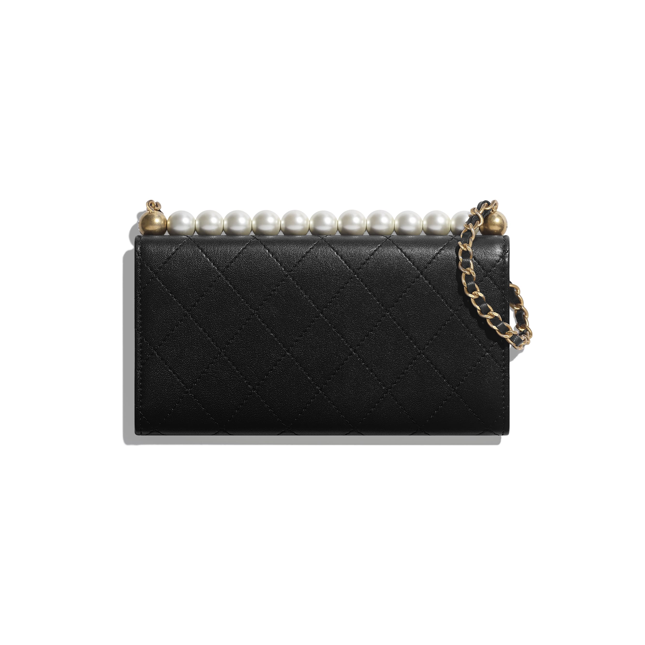 Clutch with Chain - Black - Goatskin, Imitation Pearls & Gold-Tone Metal - CHANEL - Alternative view - see standard sized version