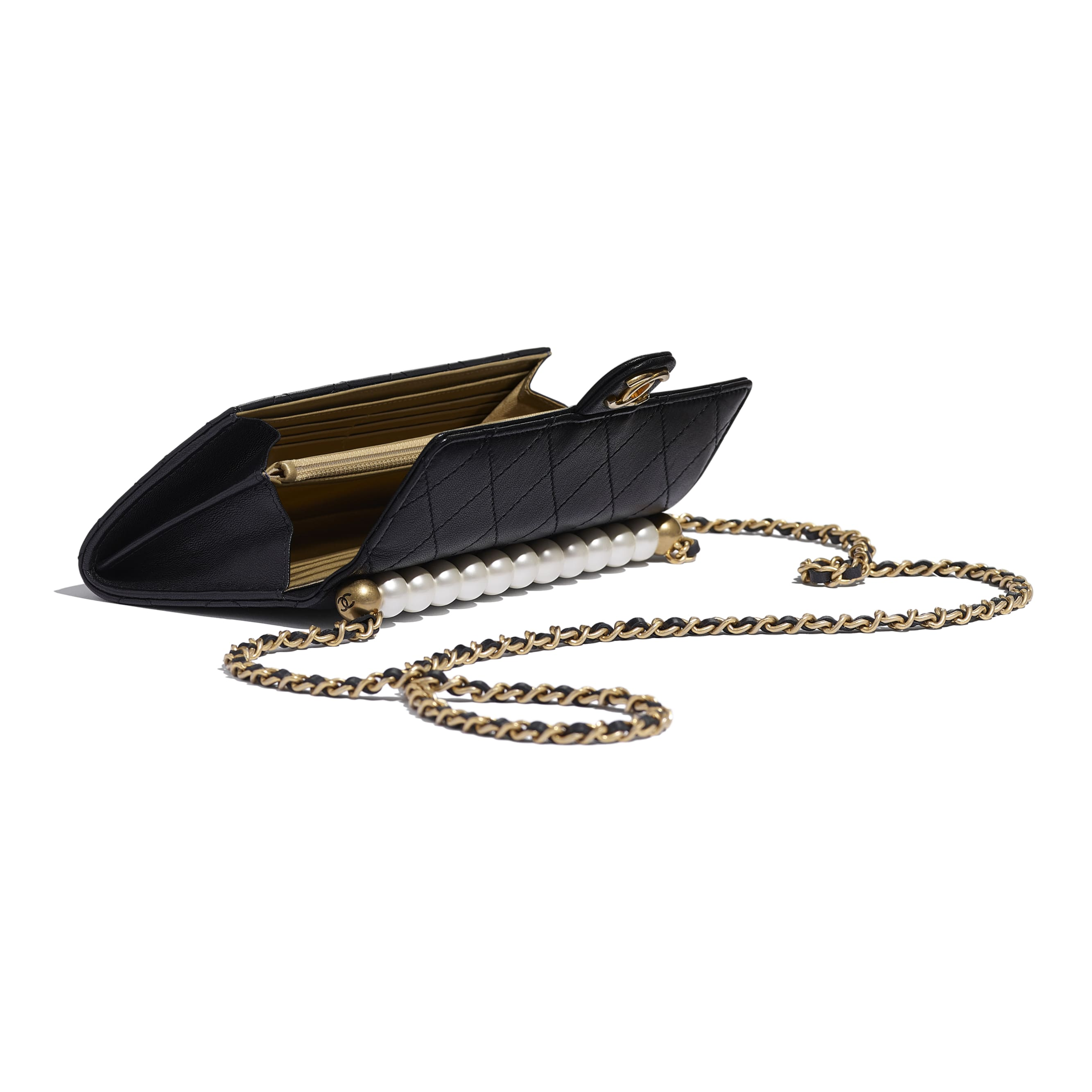 Clutch with Chain - Black - Goatskin, Imitation Pearls & Gold-Tone Metal - CHANEL - Extra view - see standard sized version