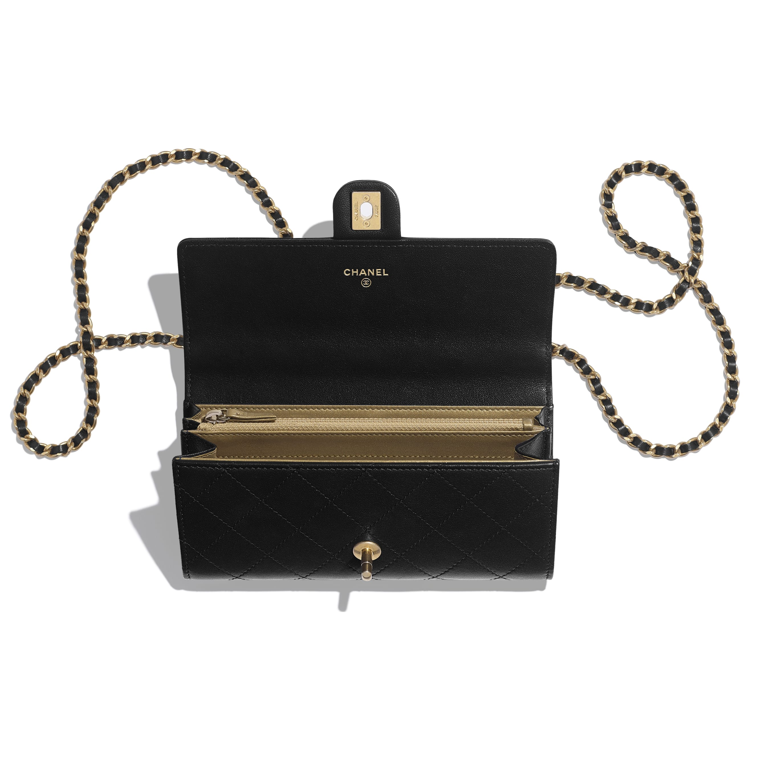 Clutch with Chain - Black - Goatskin, Imitation Pearls & Gold-Tone Metal - CHANEL - Other view - see standard sized version