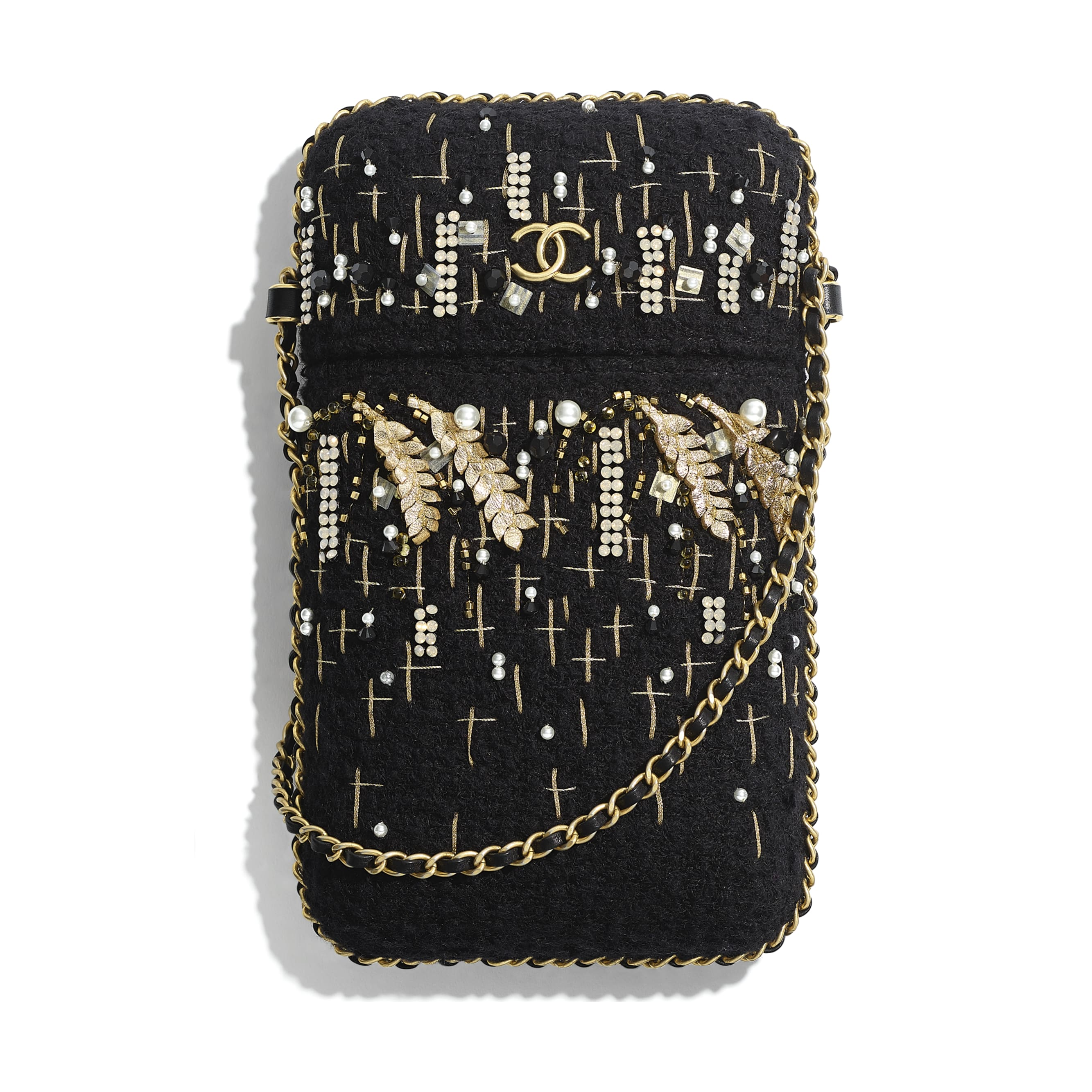 Clutch With Chain - Black & Gold - Tweed, Resin, Imitation Pearls, Diamante & Gold-Tone Metal - CHANEL - Default view - see standard sized version