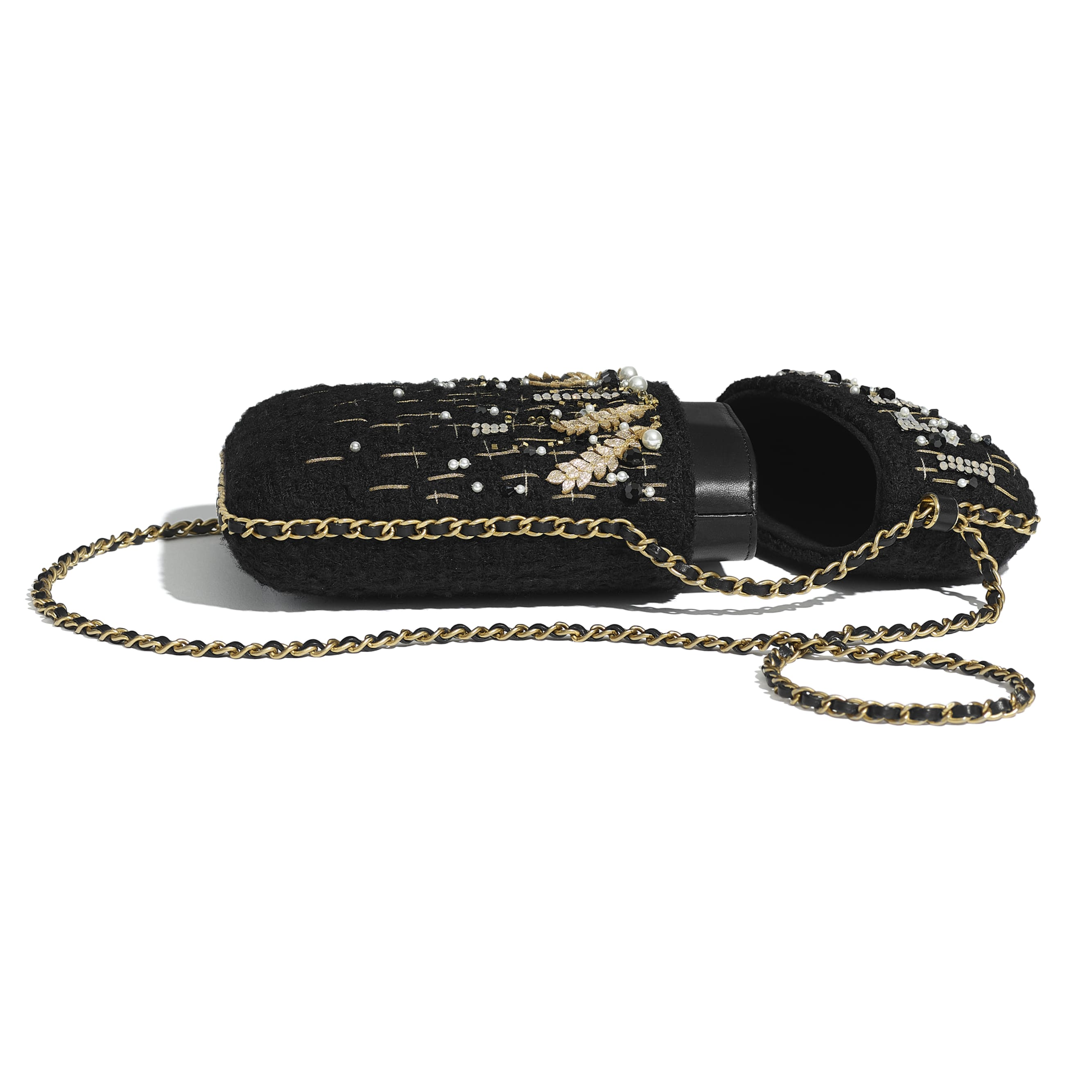 Clutch With Chain - Black & Gold - Tweed, Resin, Imitation Pearls, Diamante & Gold-Tone Metal - CHANEL - Extra view - see standard sized version