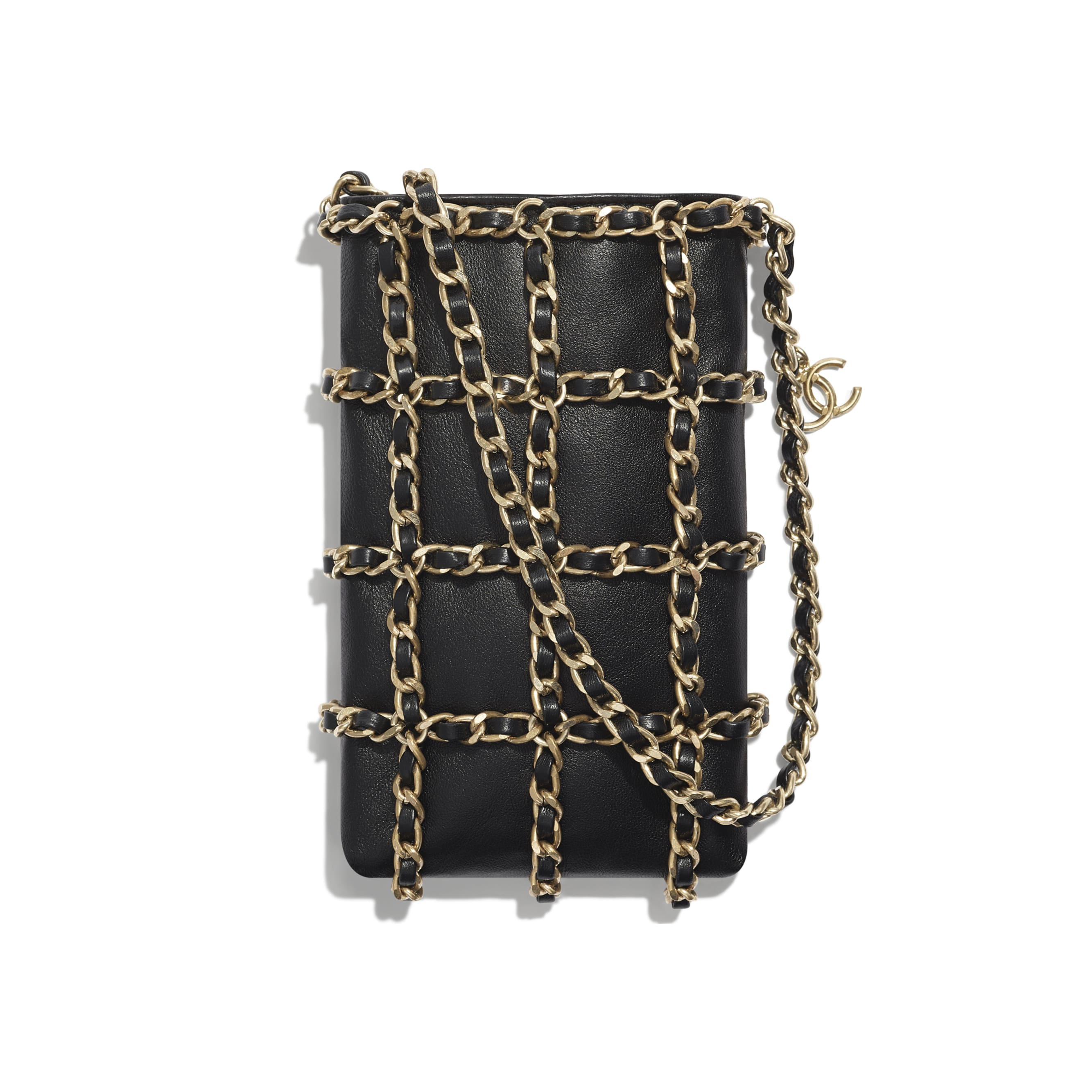 Clutch With Chain - Black - Lambskin - Alternative view - see standard sized version