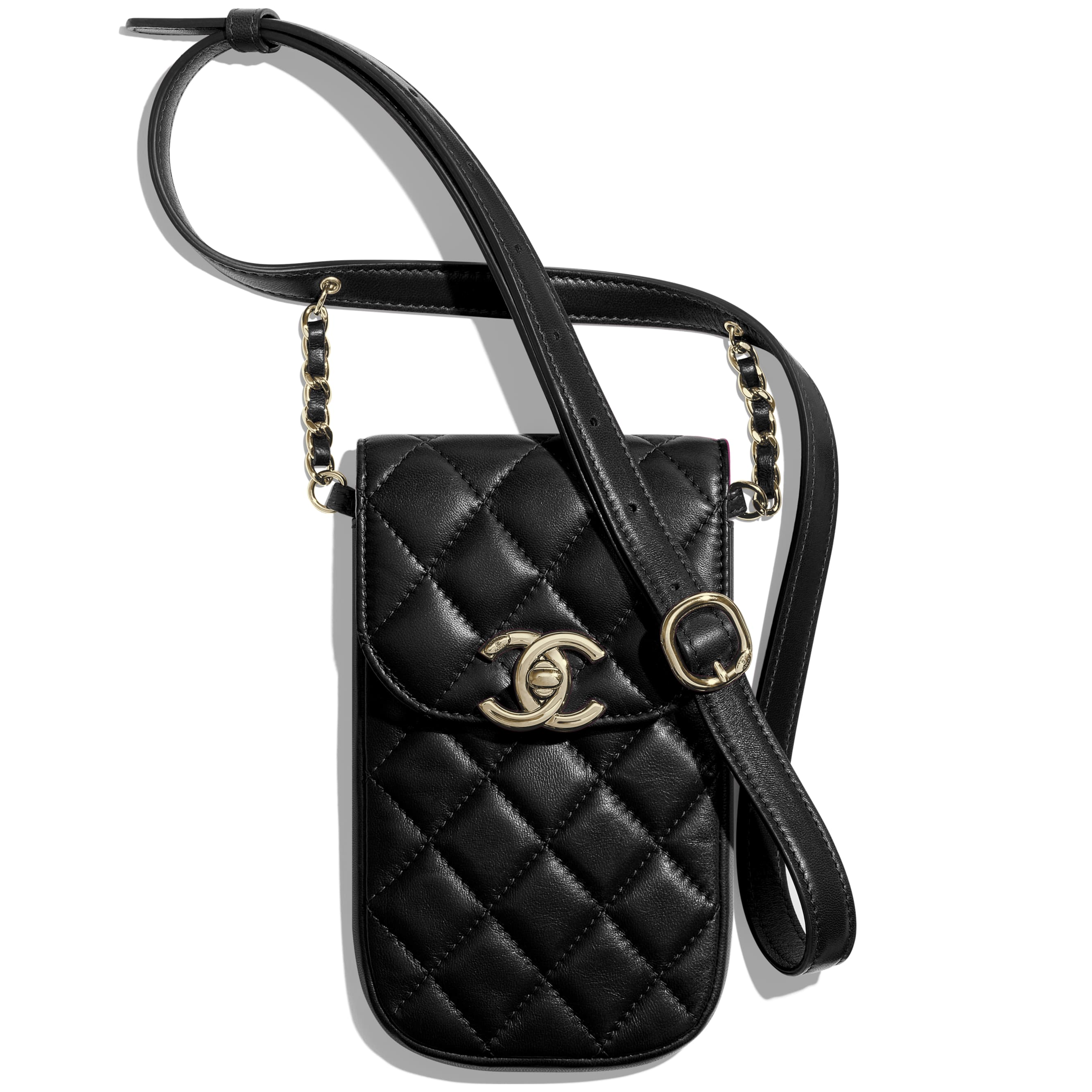 Clutch With Chain - Black - Lambskin - Default view - see standard sized version