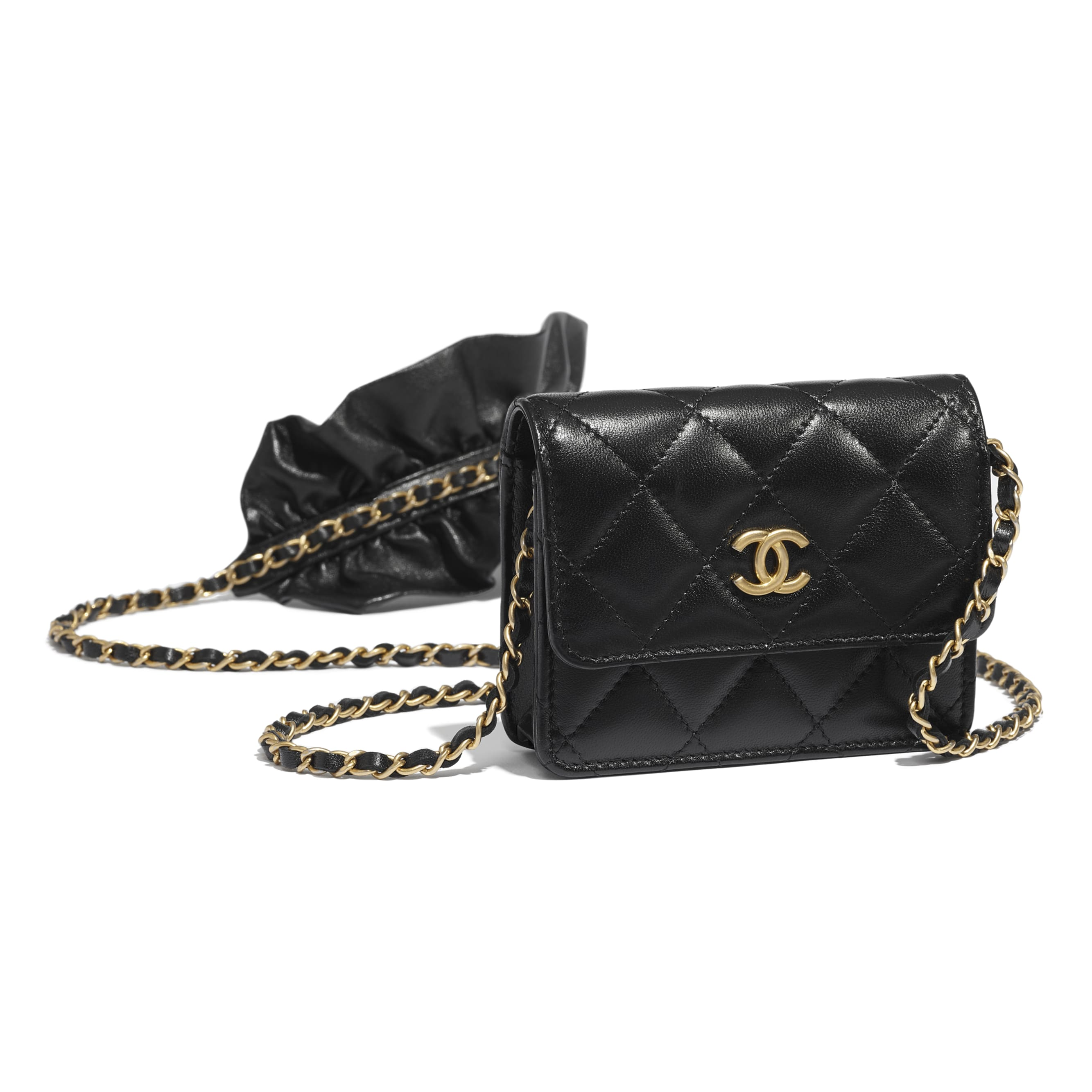 Clutch With Chain - Black - Lambskin - CHANEL - Extra view - see standard sized version