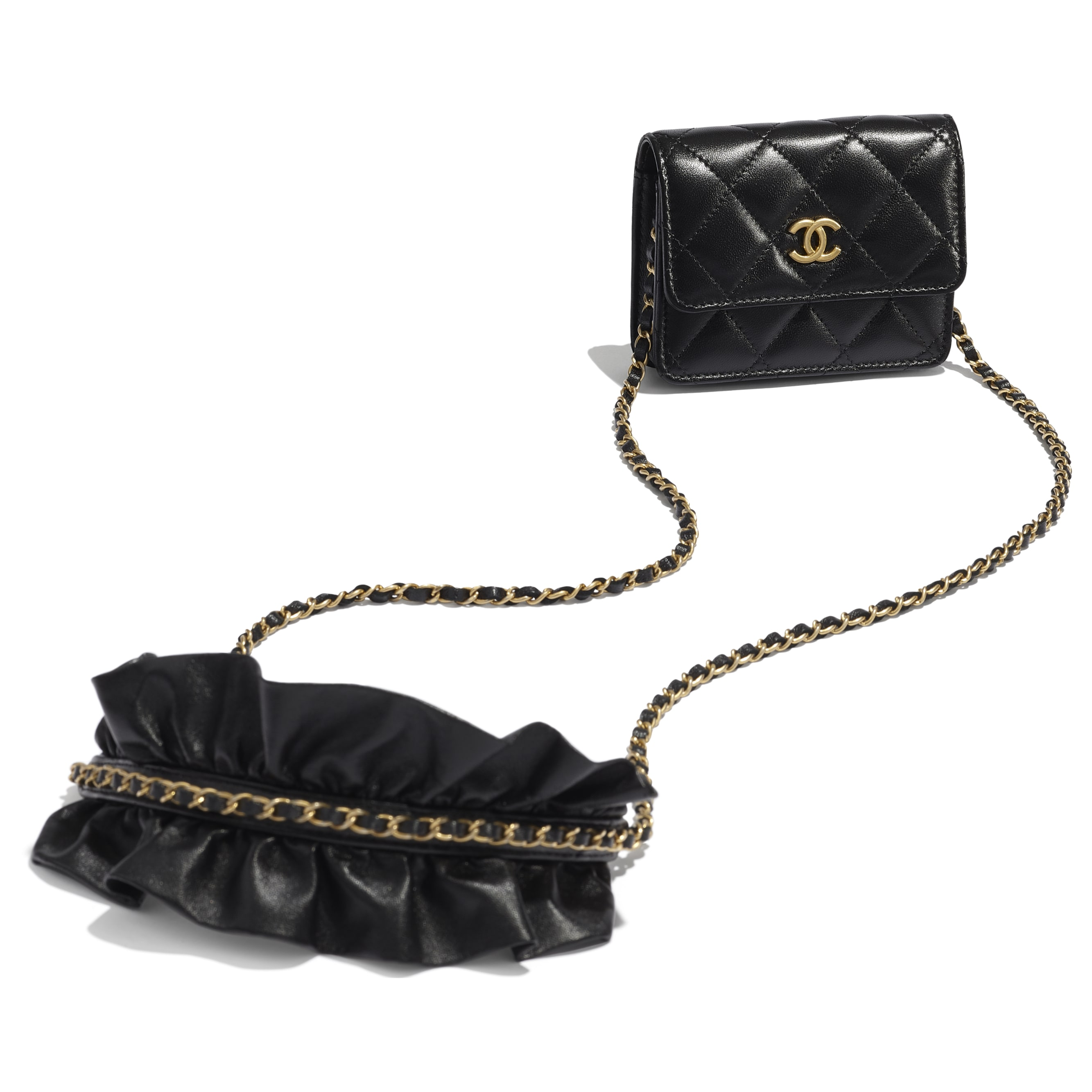 Clutch With Chain - Black - Lambskin - CHANEL - Other view - see standard sized version