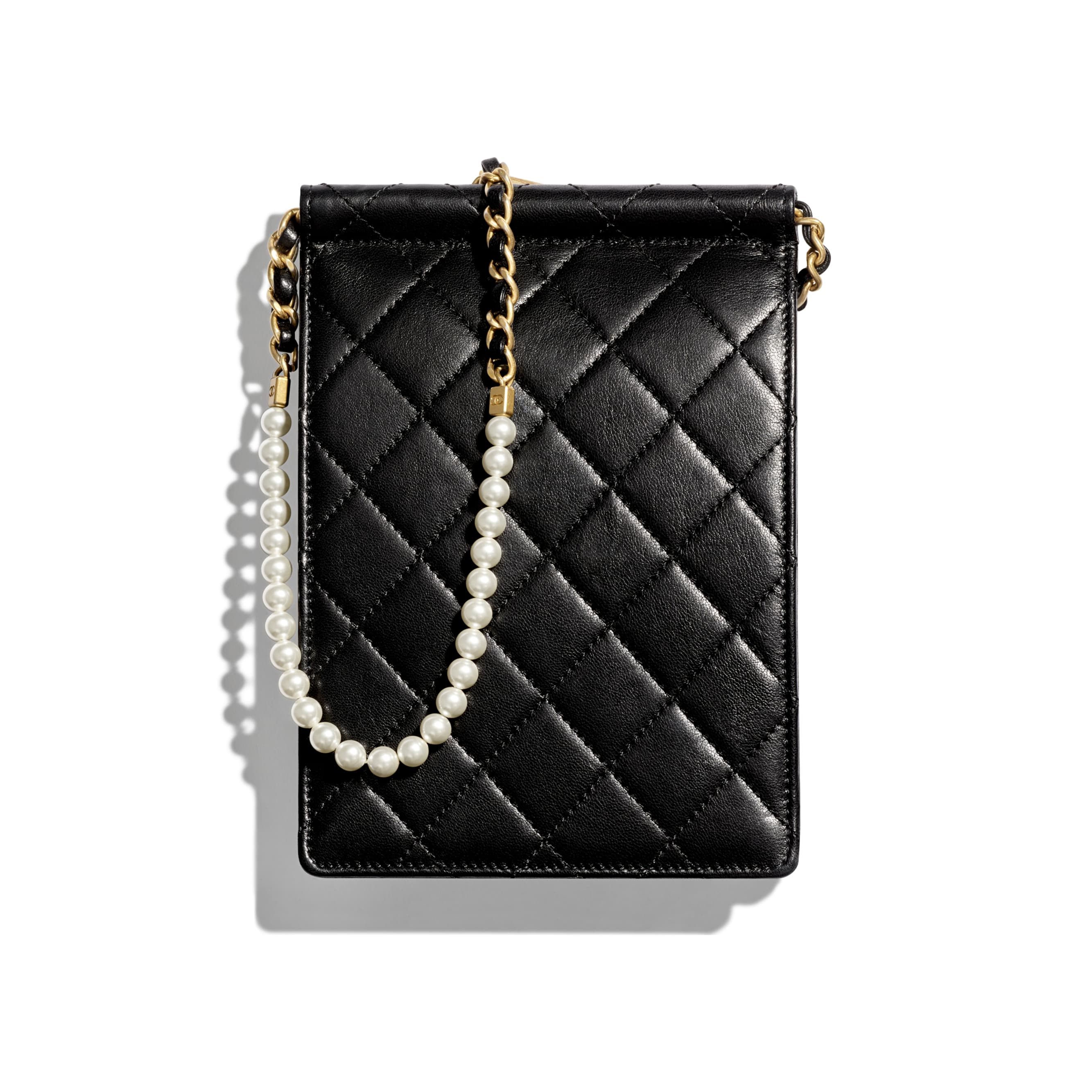 Clutch with Chain - Black - Lambskin, Imitation Pearls & Gold-Tone Metal - Alternative view - see standard sized version