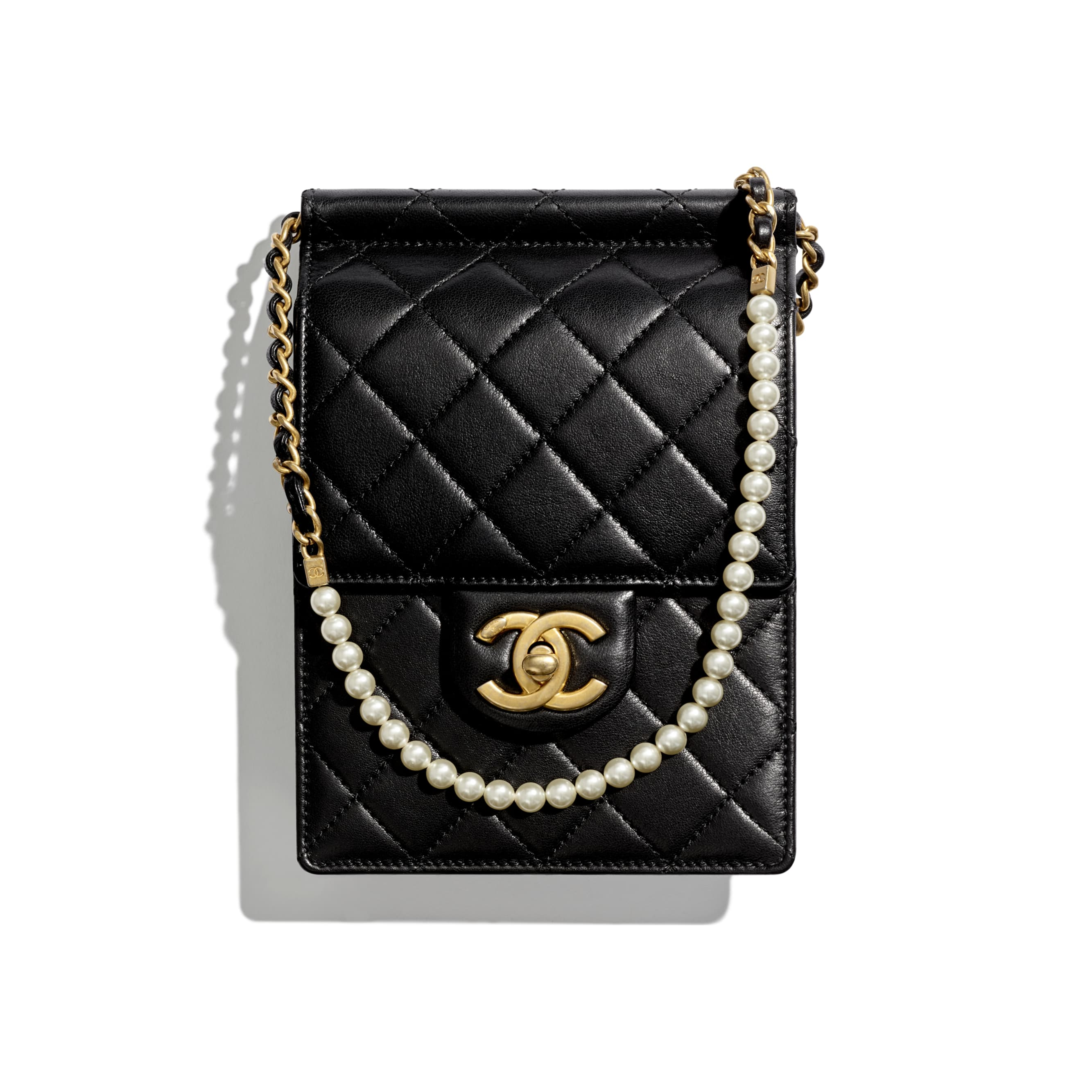 Clutch with Chain - Black - Lambskin, Imitation Pearls & Gold-Tone Metal - Default view - see standard sized version