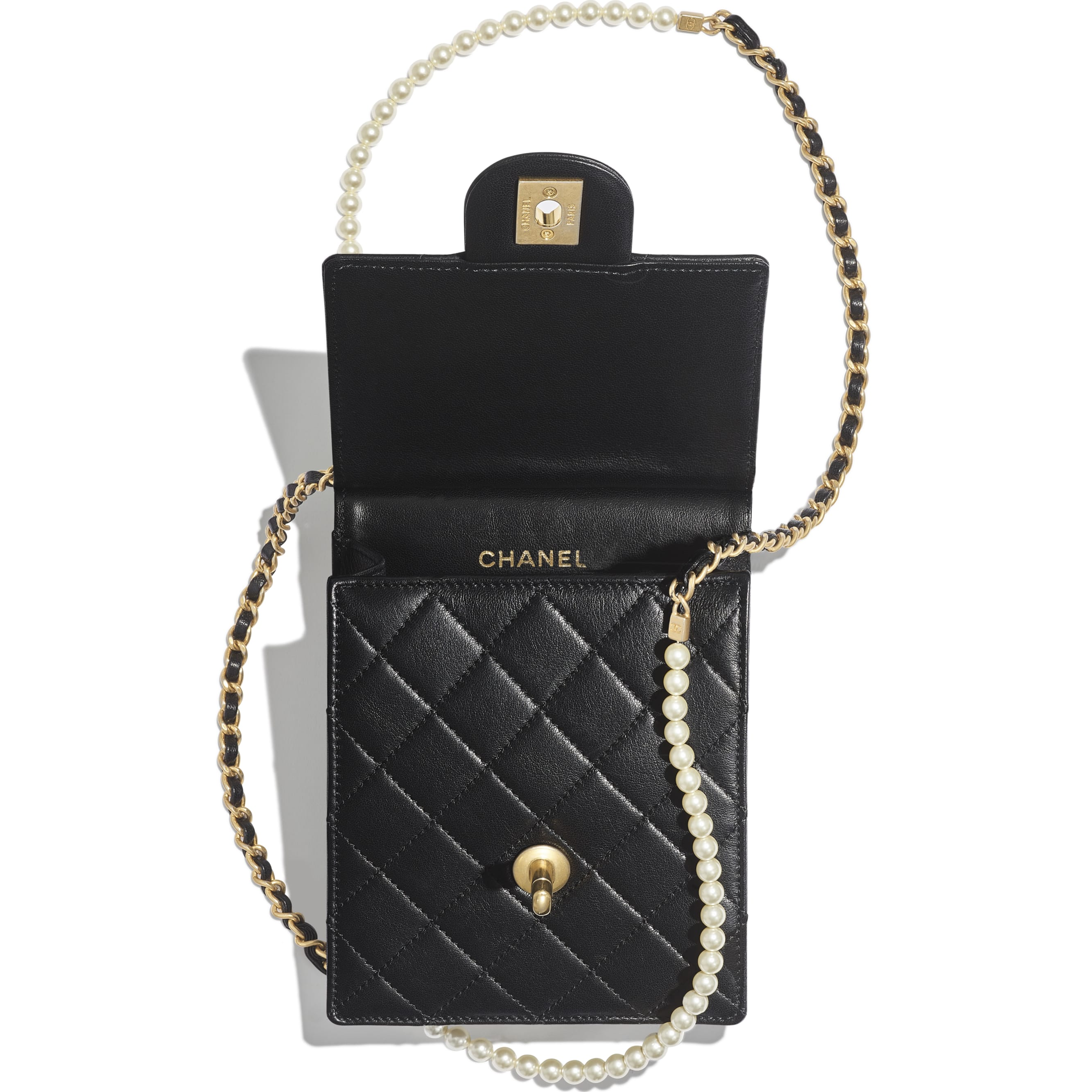 Clutch with Chain - Black - Lambskin, Imitation Pearls & Gold-Tone Metal - Other view - see standard sized version