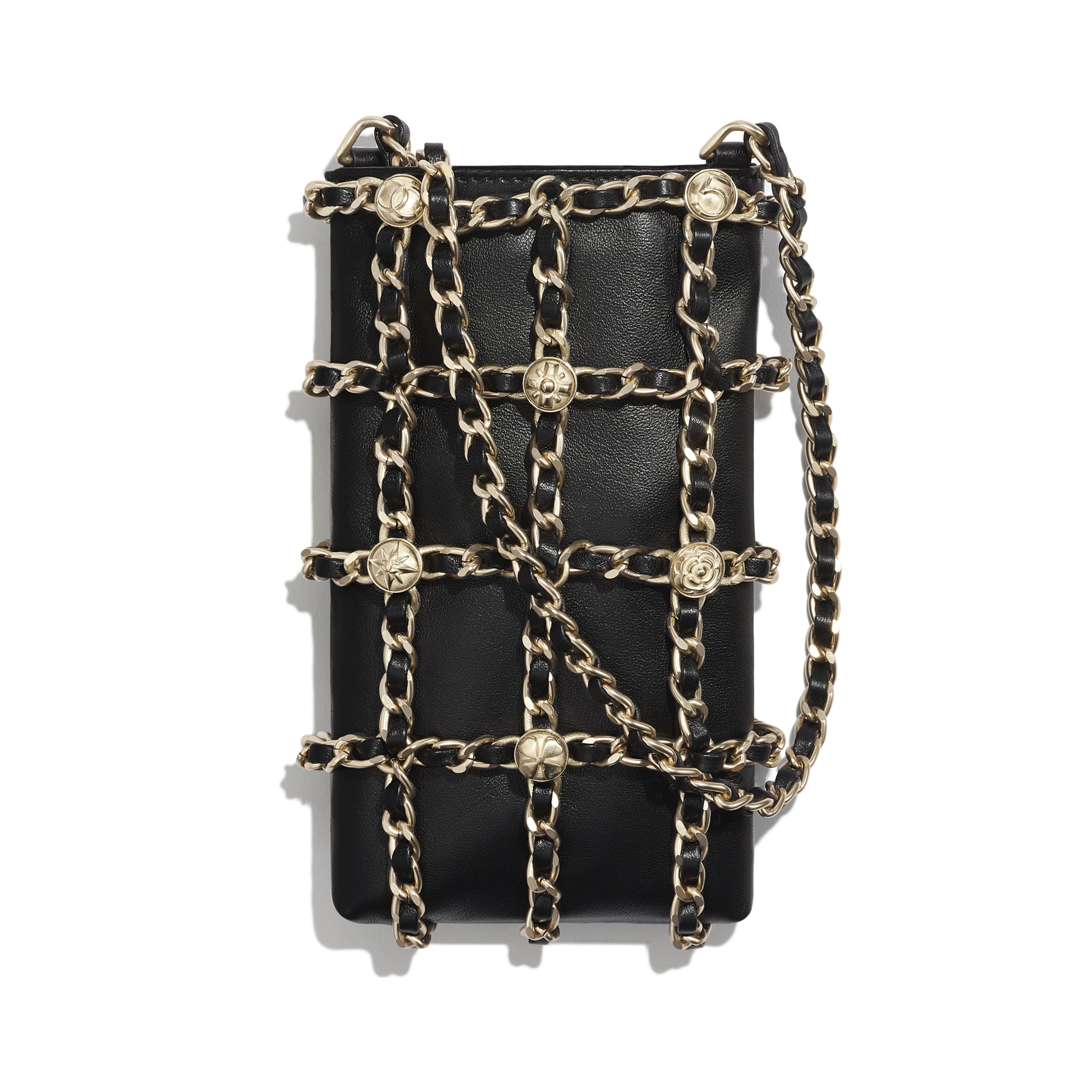 Clutch With Chain - Black - Lambskin, Studs & Gold-Tone Metal - Alternative view - see standard sized version