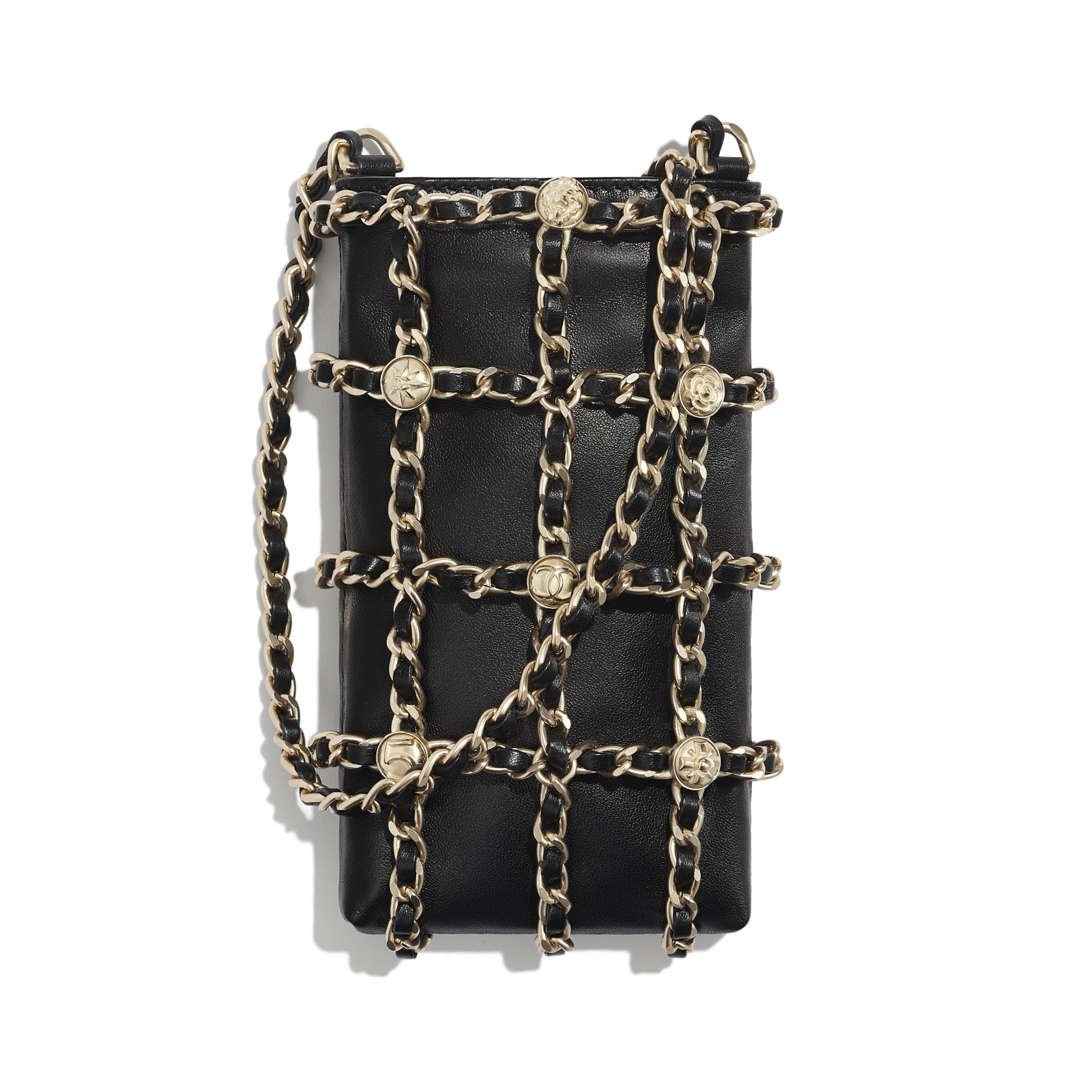 Clutch With Chain - Black - Lambskin, Studs & Gold-Tone Metal - Default view - see standard sized version