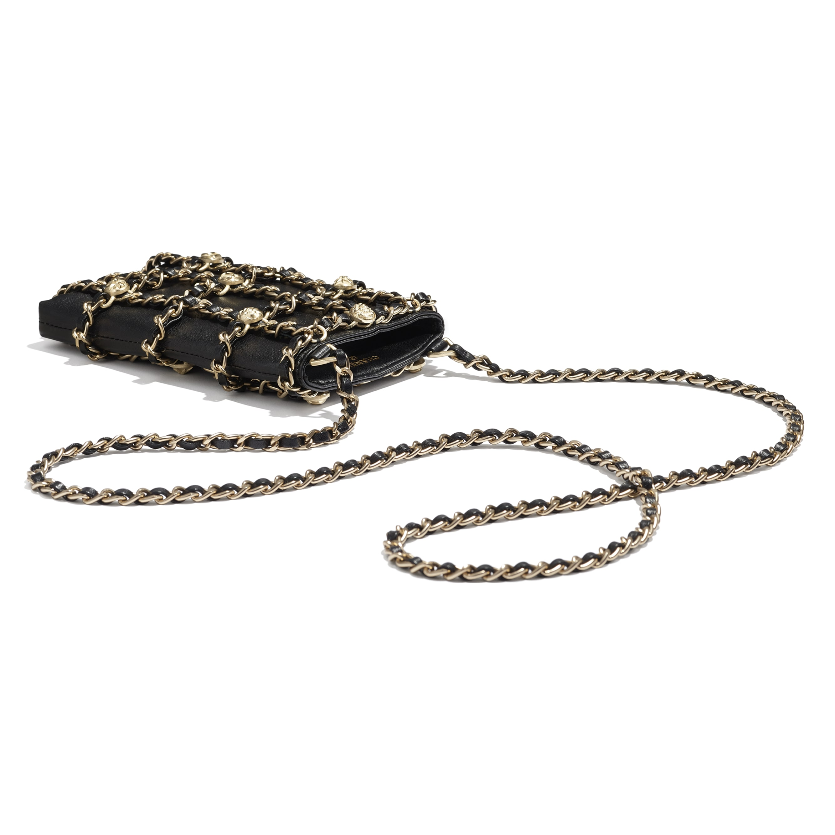 Clutch With Chain - Black - Lambskin, Studs & Gold-Tone Metal - Extra view - see standard sized version