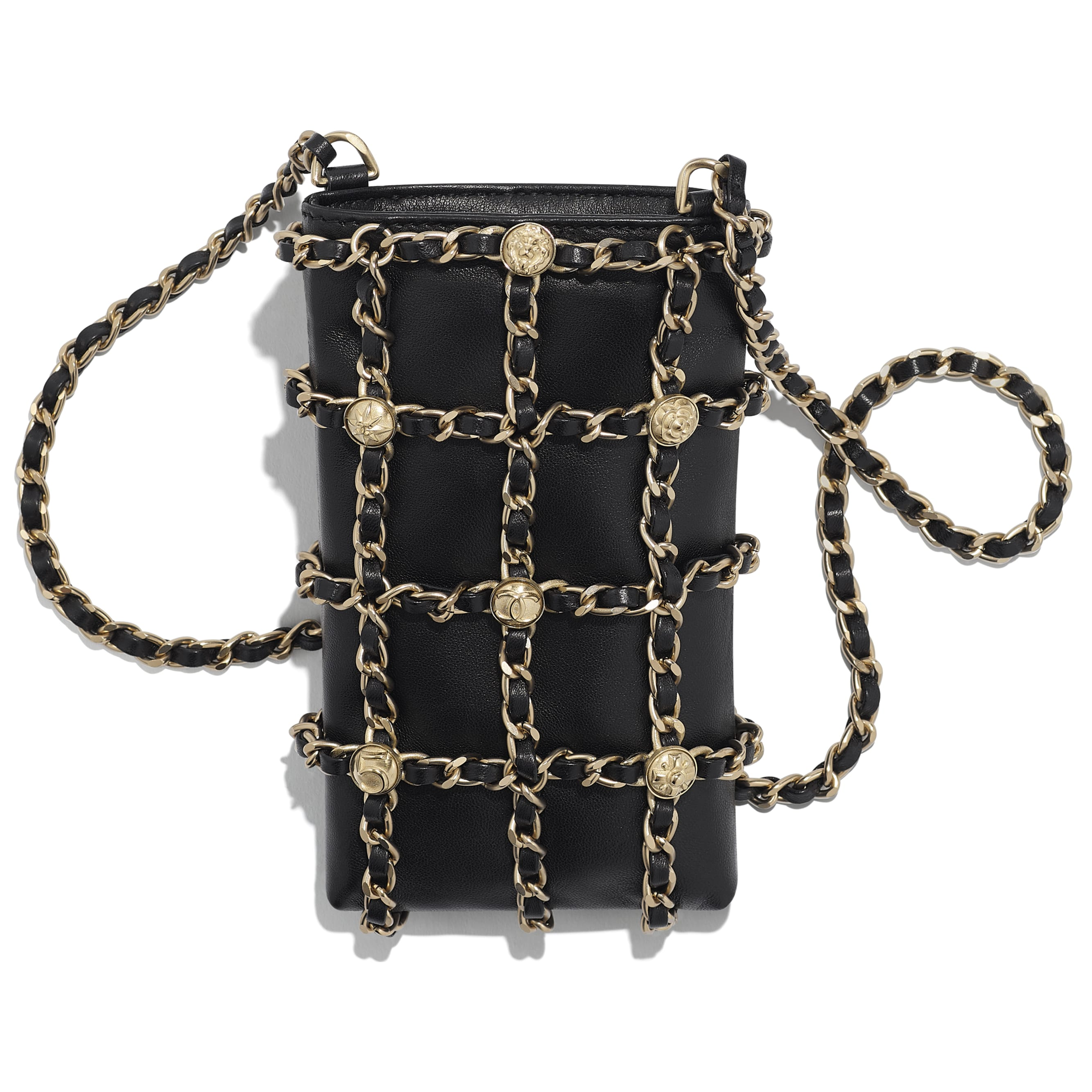 Clutch With Chain - Black - Lambskin, Studs & Gold-Tone Metal - Other view - see standard sized version