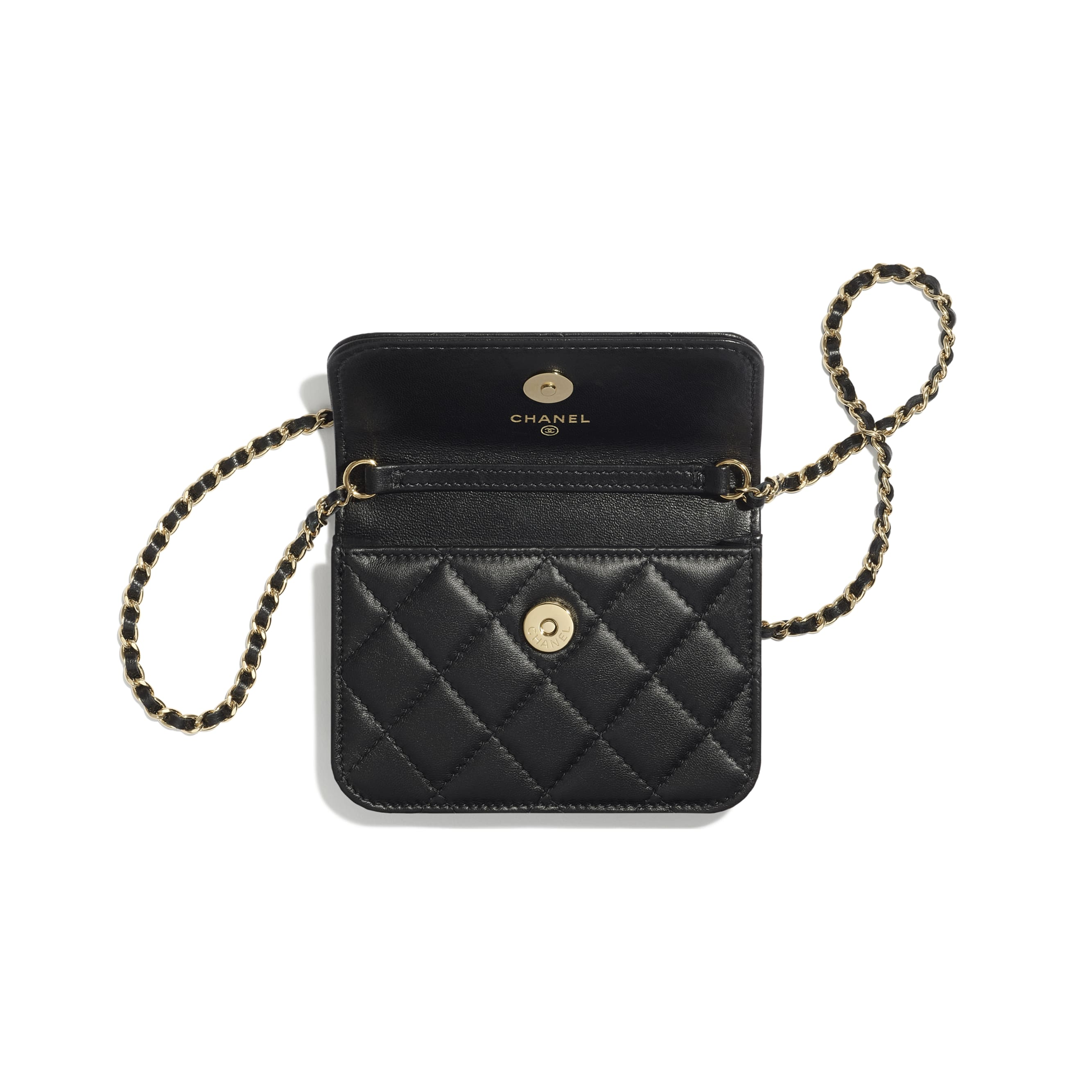 Clutch With Chain - Black - Lambskin, Zirconium & Gold-Tone Metal - CHANEL - Alternative view - see standard sized version