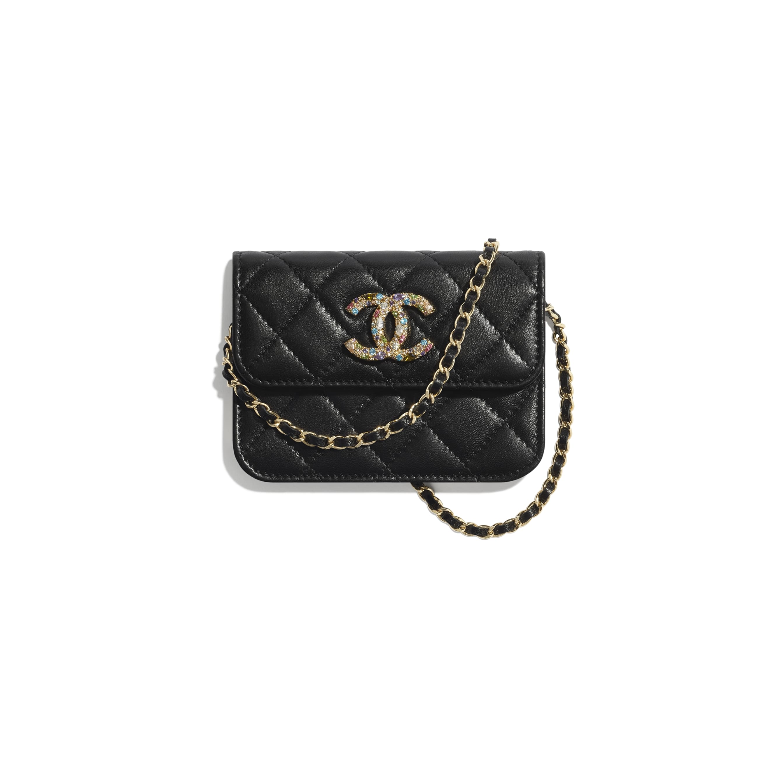 Clutch With Chain - Black - Lambskin, Zirconium & Gold-Tone Metal - CHANEL - Default view - see standard sized version