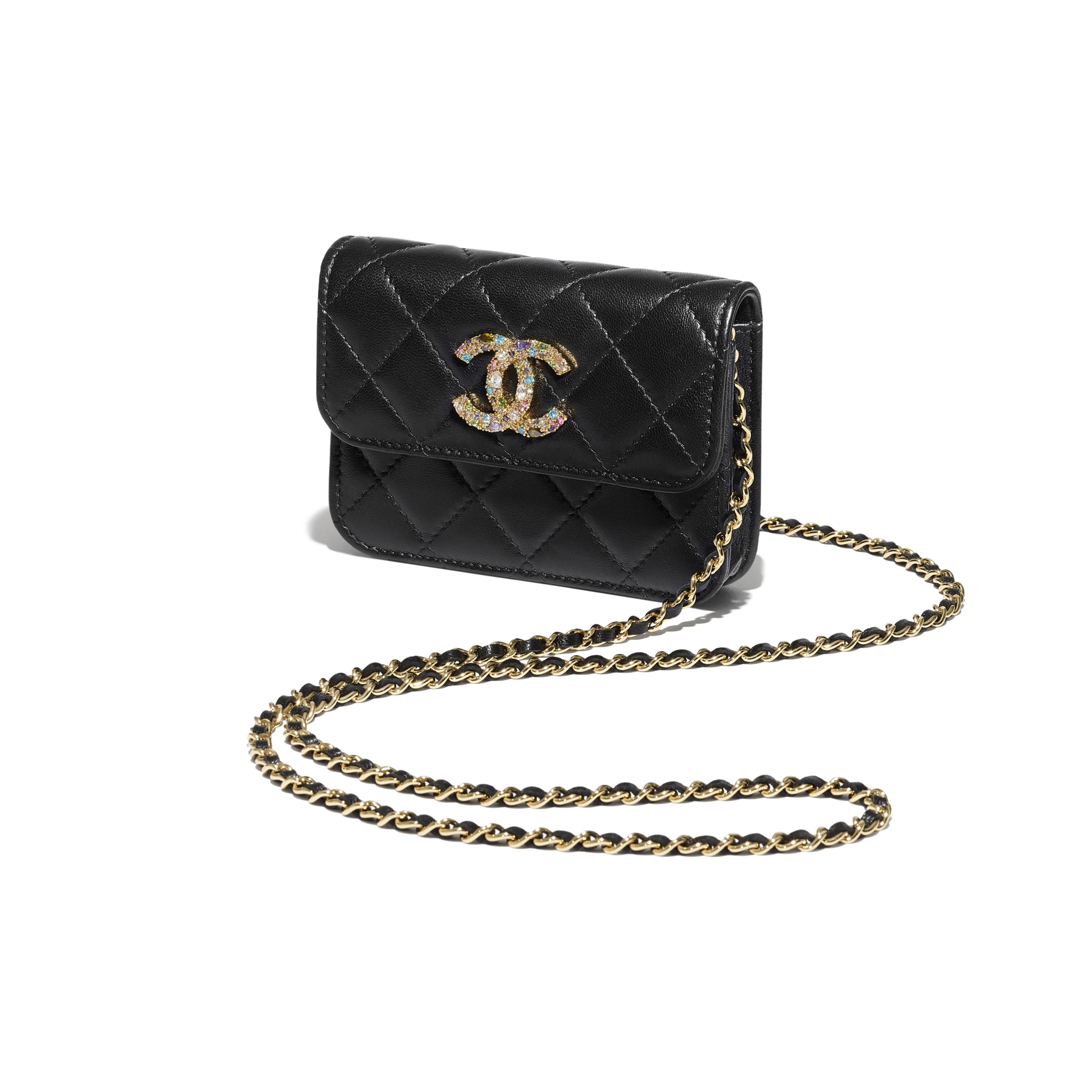 Clutch With Chain - Black - Lambskin, Zirconium & Gold-Tone Metal - CHANEL - Extra view - see standard sized version