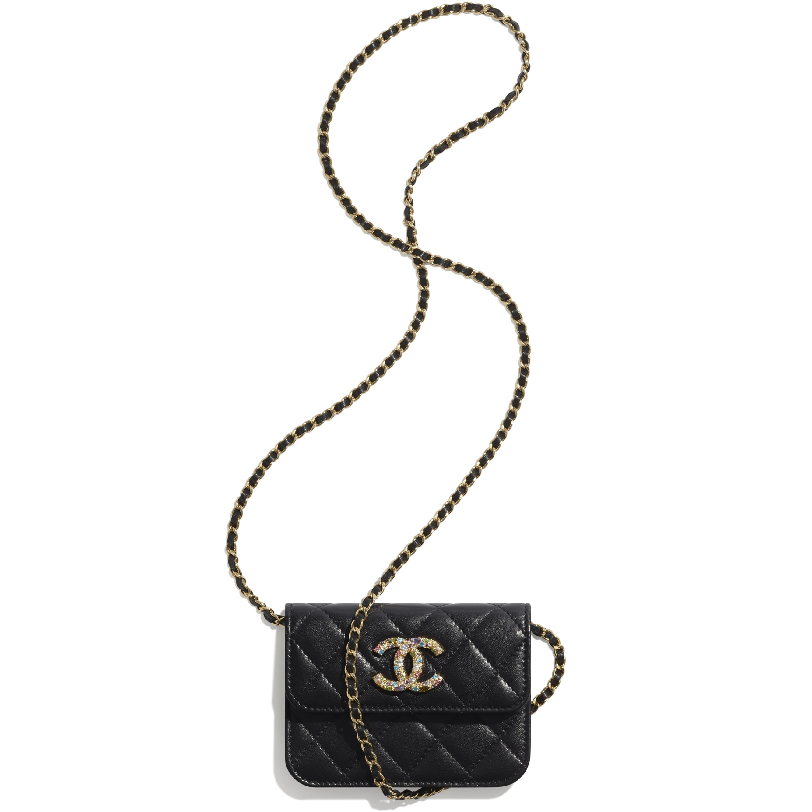 Clutch With Chain - Black - Lambskin, Zirconium & Gold-Tone Metal - CHANEL - Other view - see standard sized version