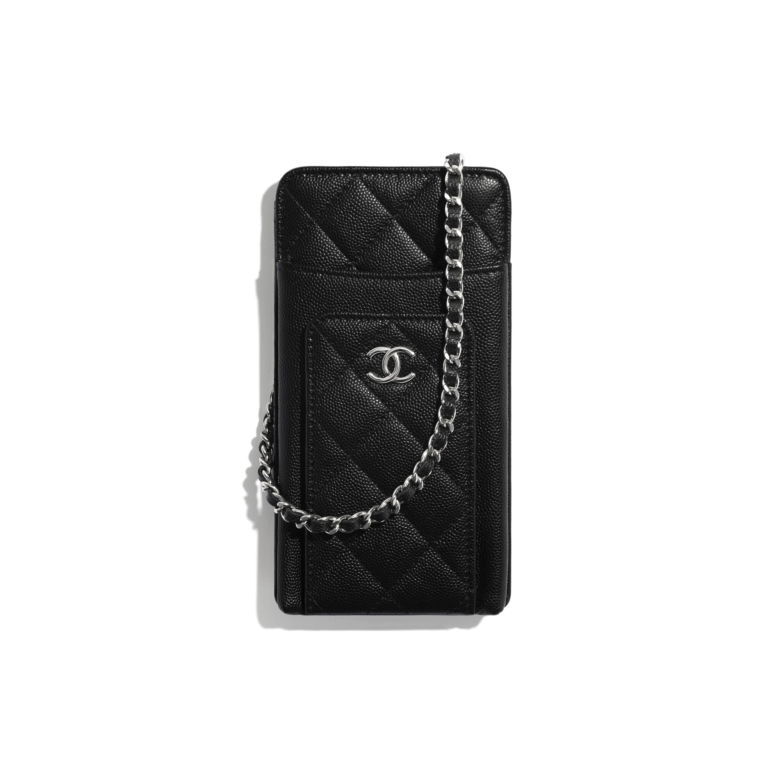 Clutch With Chain - Black, Navy Blue & White - Grained Calfskin, Fabric & Silver-Tone Metal - CHANEL - Default view - see standard sized version