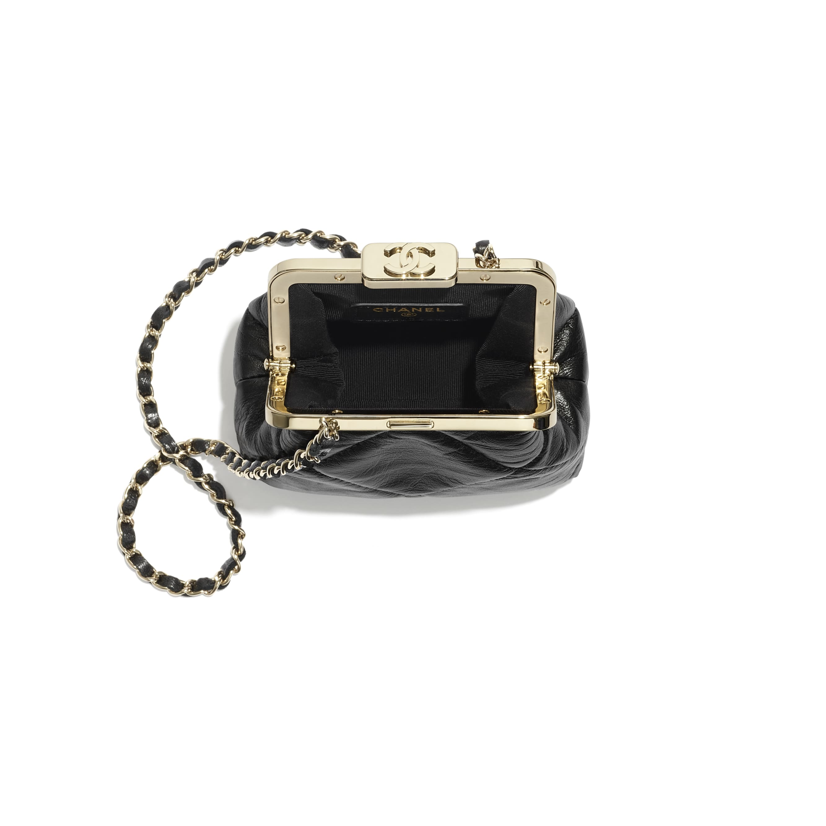 Clutch With Chain - Black - Shiny Aged Lambskin & Gold-Tone Metal - CHANEL - Alternative view - see standard sized version