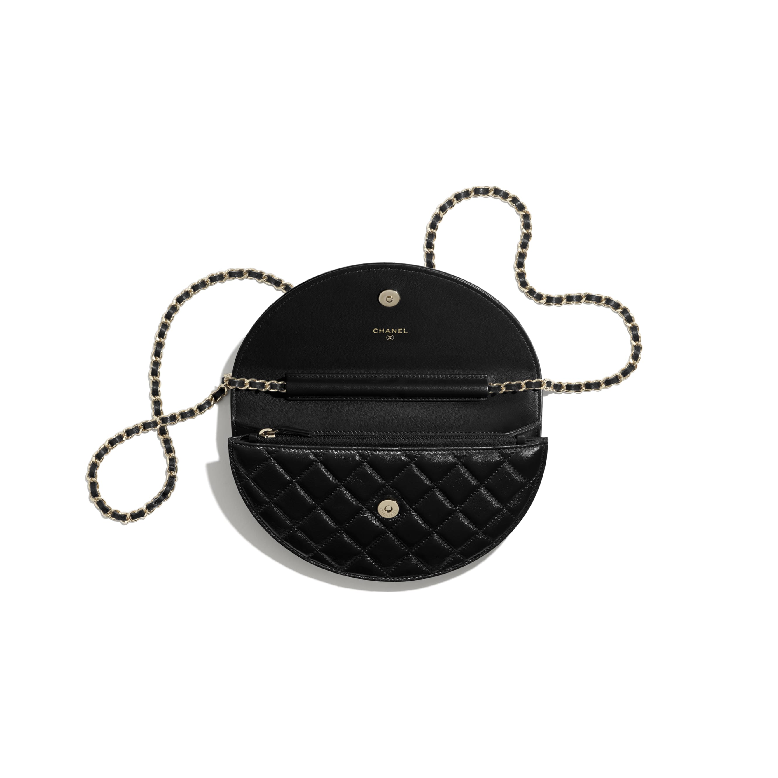 Clutch with Chain - Black - Shiny Crumpled Lambskin, Resin & Gold-Tone Metal - CHANEL - Other view - see standard sized version