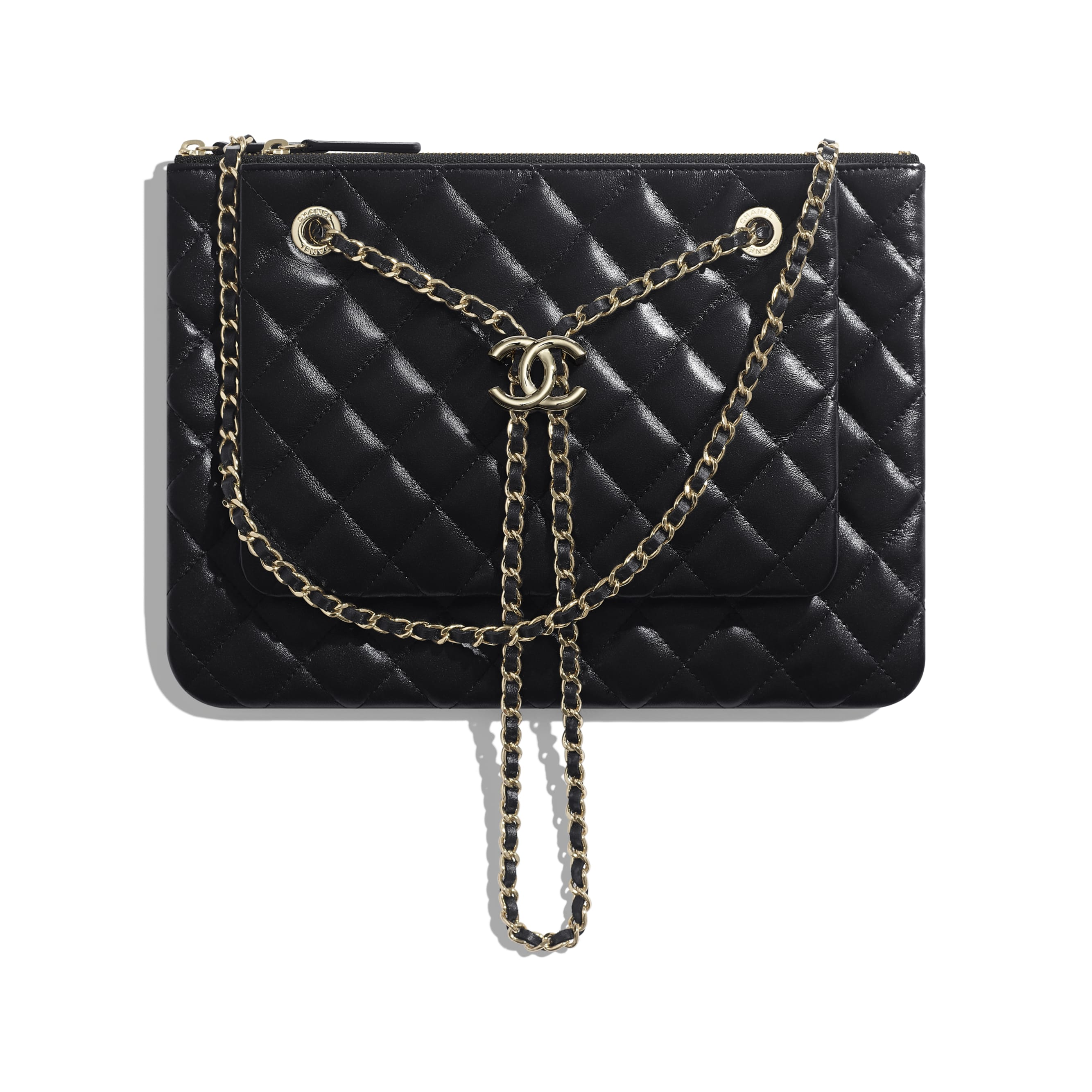 Clutch With Chain - Black - Shiny Lambskin & Gold-Tone Metal - Default view - see standard sized version