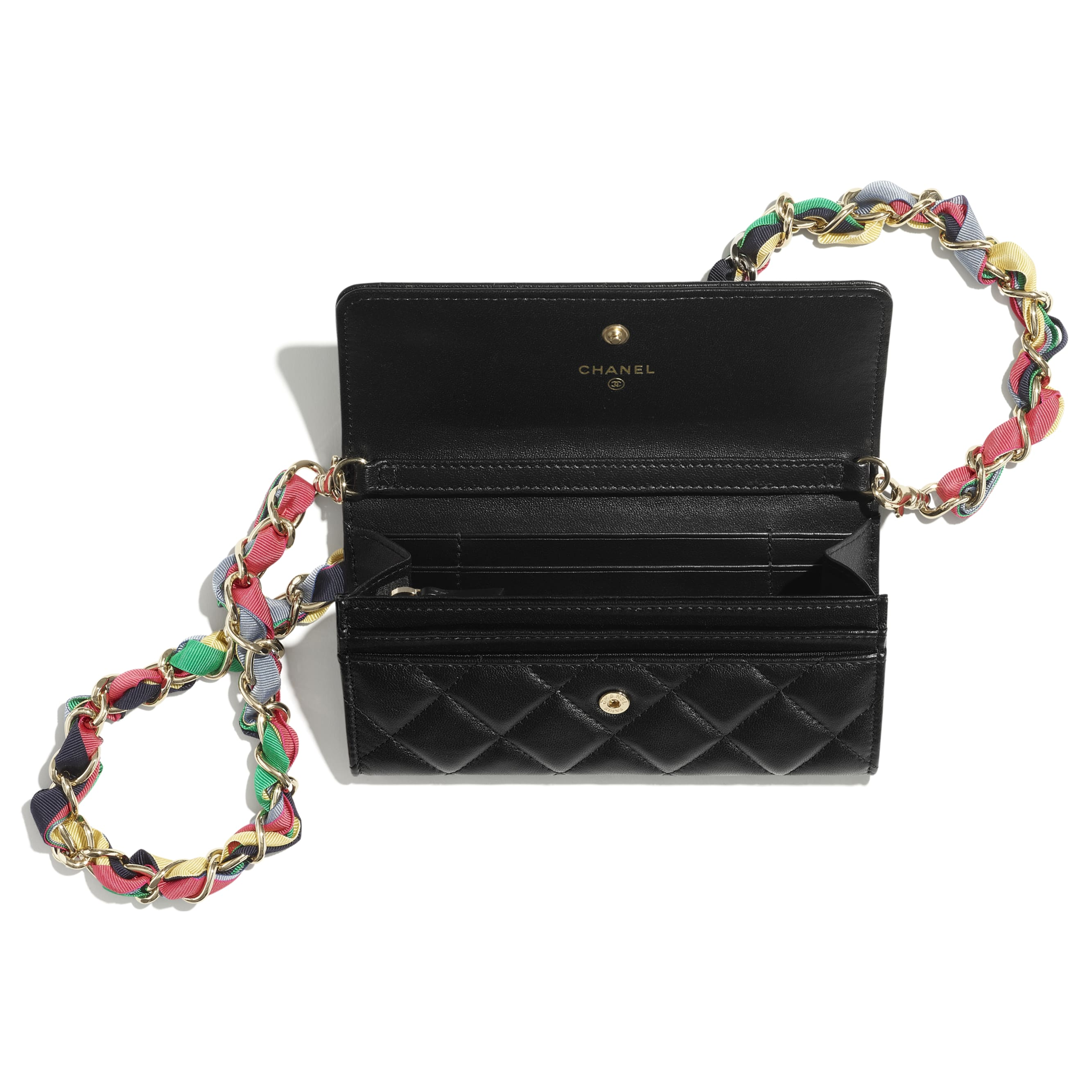 Clutch With Chain - Black - Shiny Lambskin, Ribbon & Gold-Tone Metal - CHANEL - Alternative view - see standard sized version