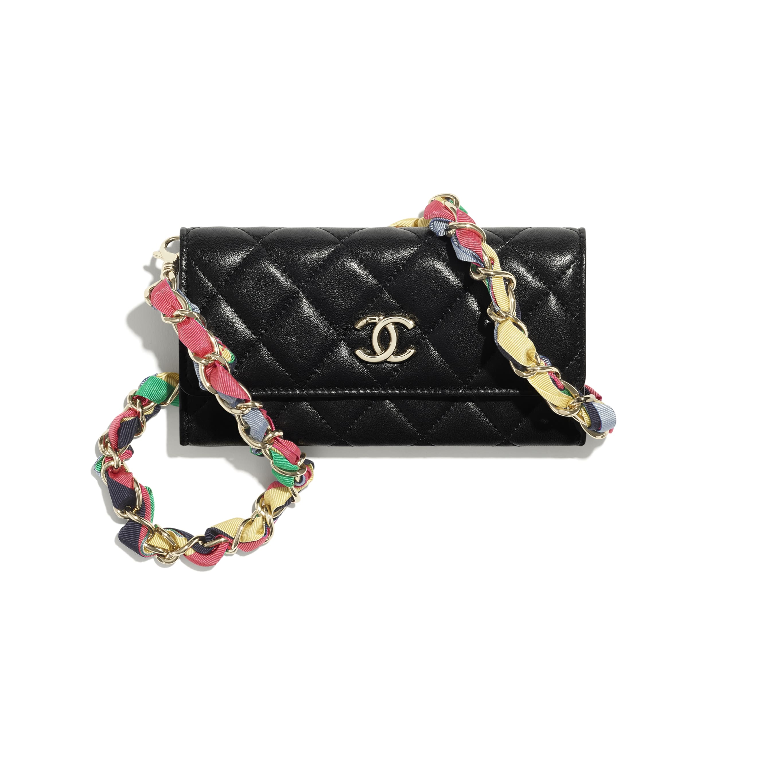 Clutch With Chain - Black - Shiny Lambskin, Ribbon & Gold-Tone Metal - CHANEL - Default view - see standard sized version