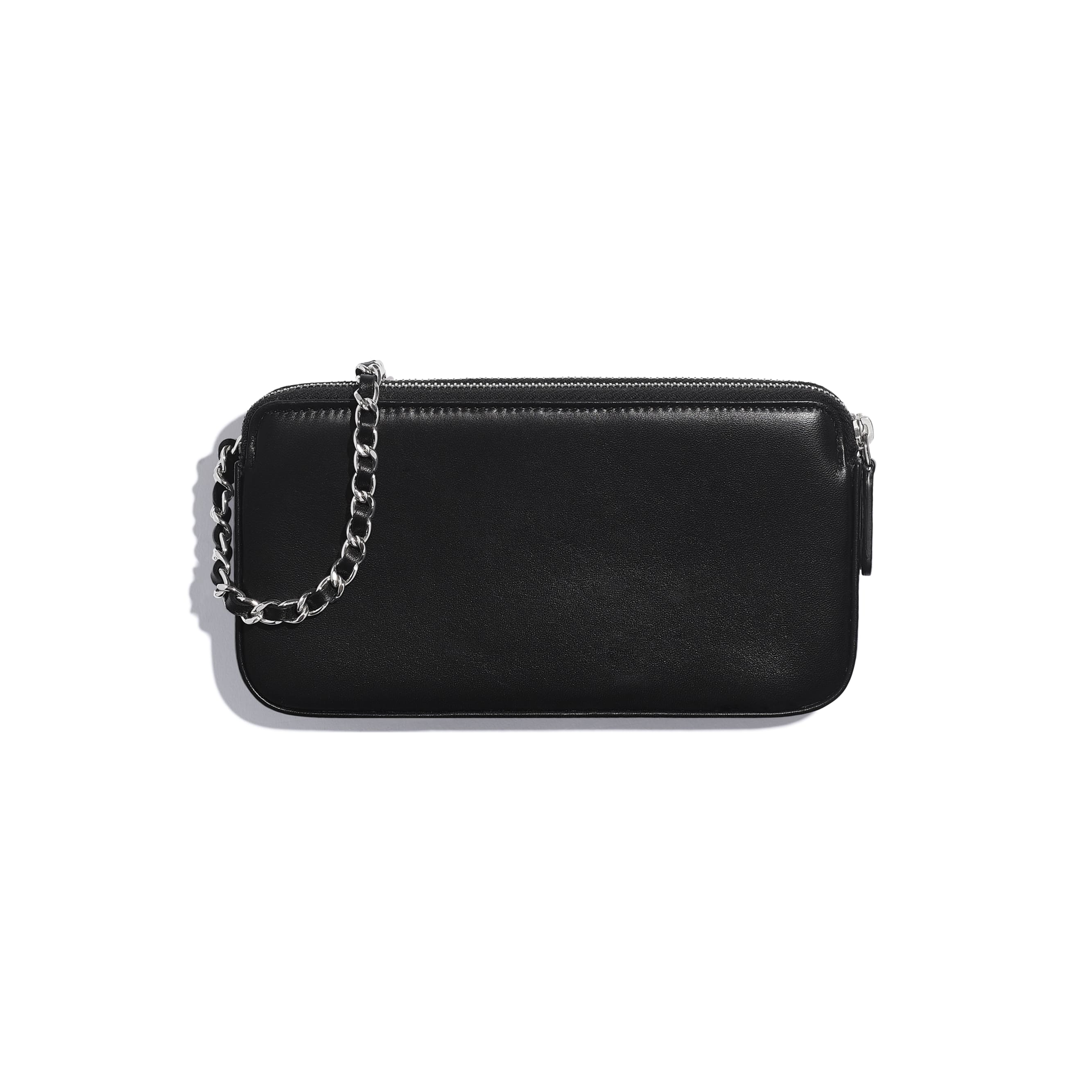 Clutch with Chain - Black, Silver & White - Lambskin, Sequins & Silver-Tone Metal - CHANEL - Alternative view - see standard sized version